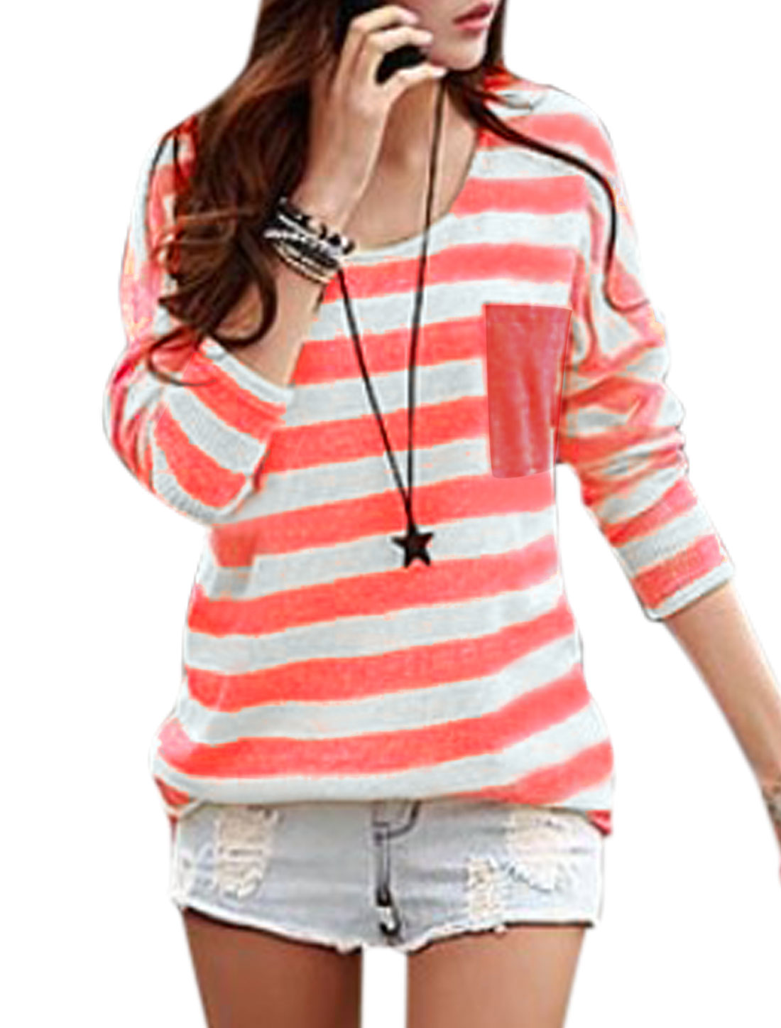 Women Stripes Batwing Sleeves Tunic Knit Shirt Deep Pink White XS