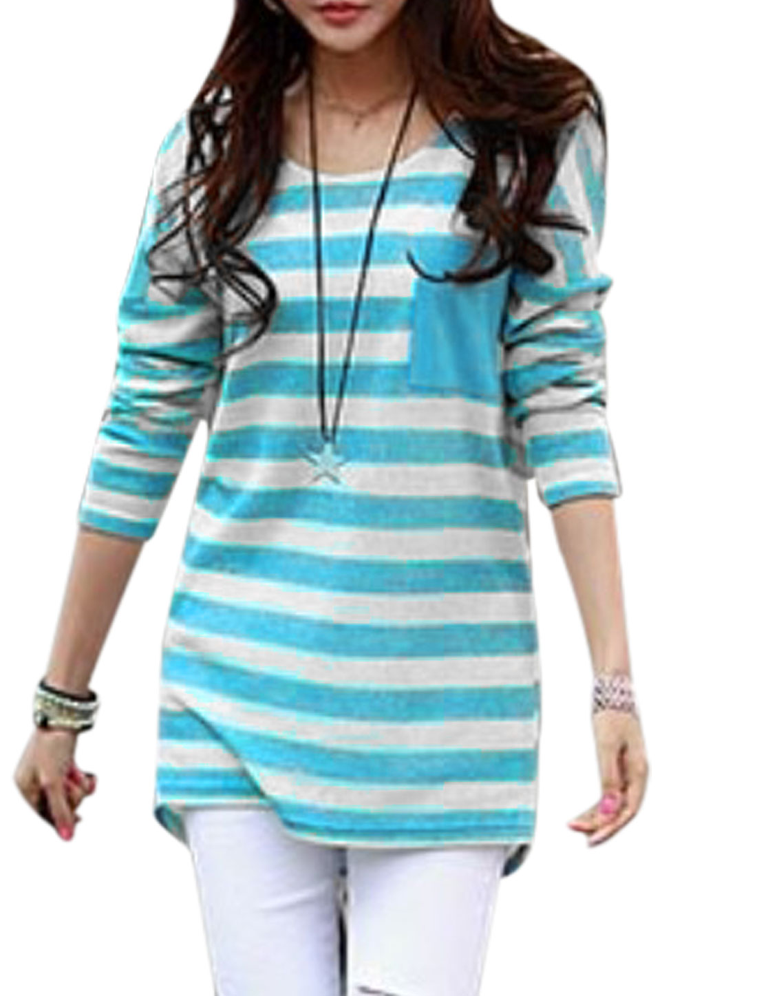 Ladies Stripes One Chest Pocket Spliced Blue White Tunic Knit Shirt XS