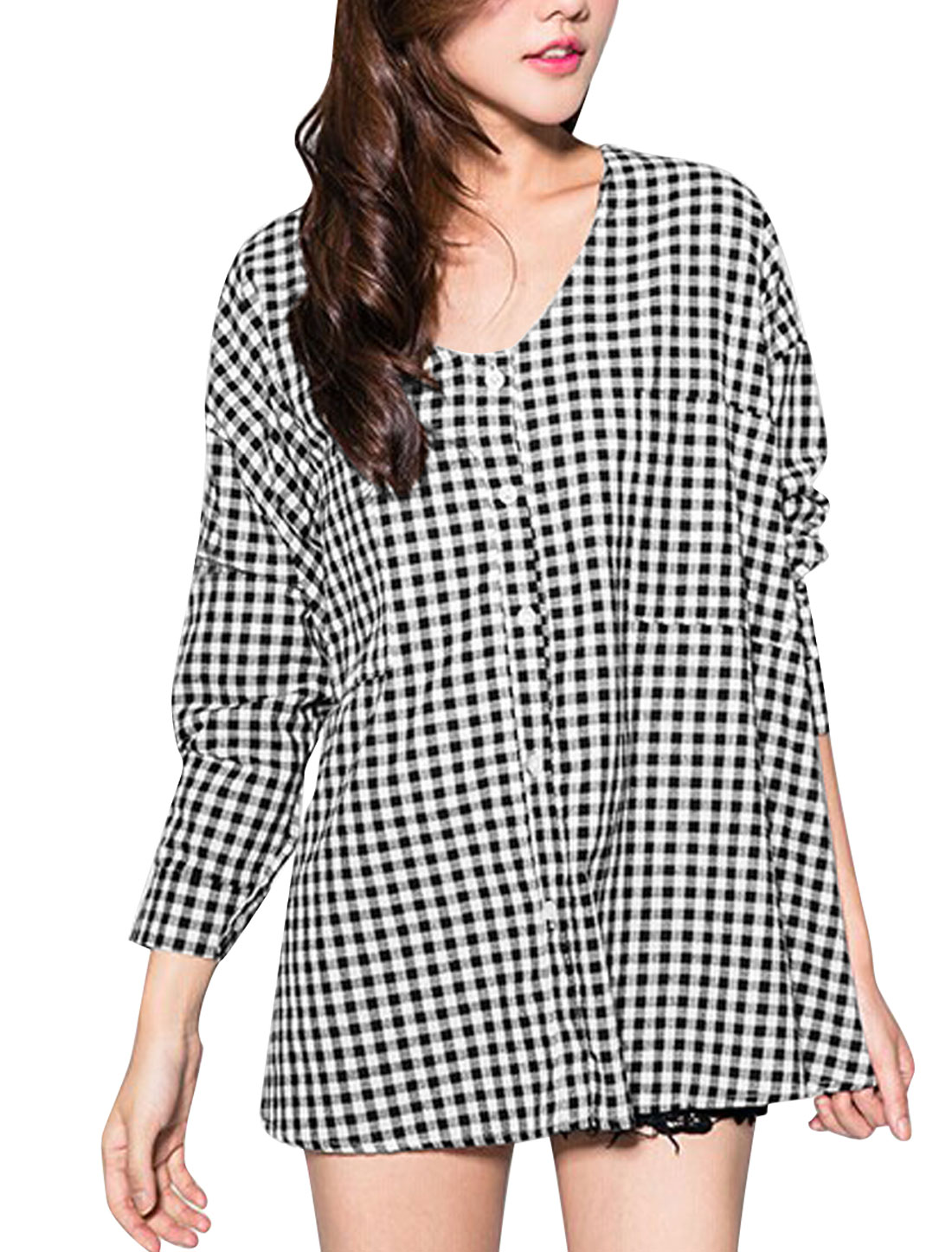 Women Plaids Pattern Single Breasted Lace Up Back Tunic Top Black White XS
