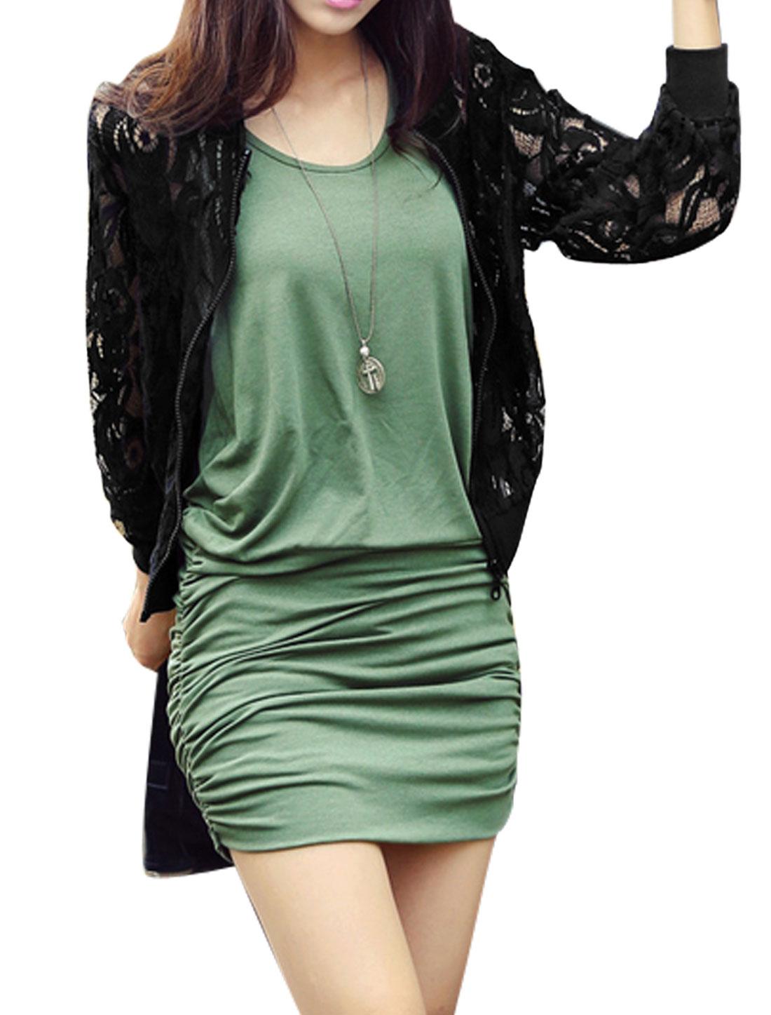 Women Fashion Flower Design Ribbed Trim Zipper Front Lace Jacket Black S