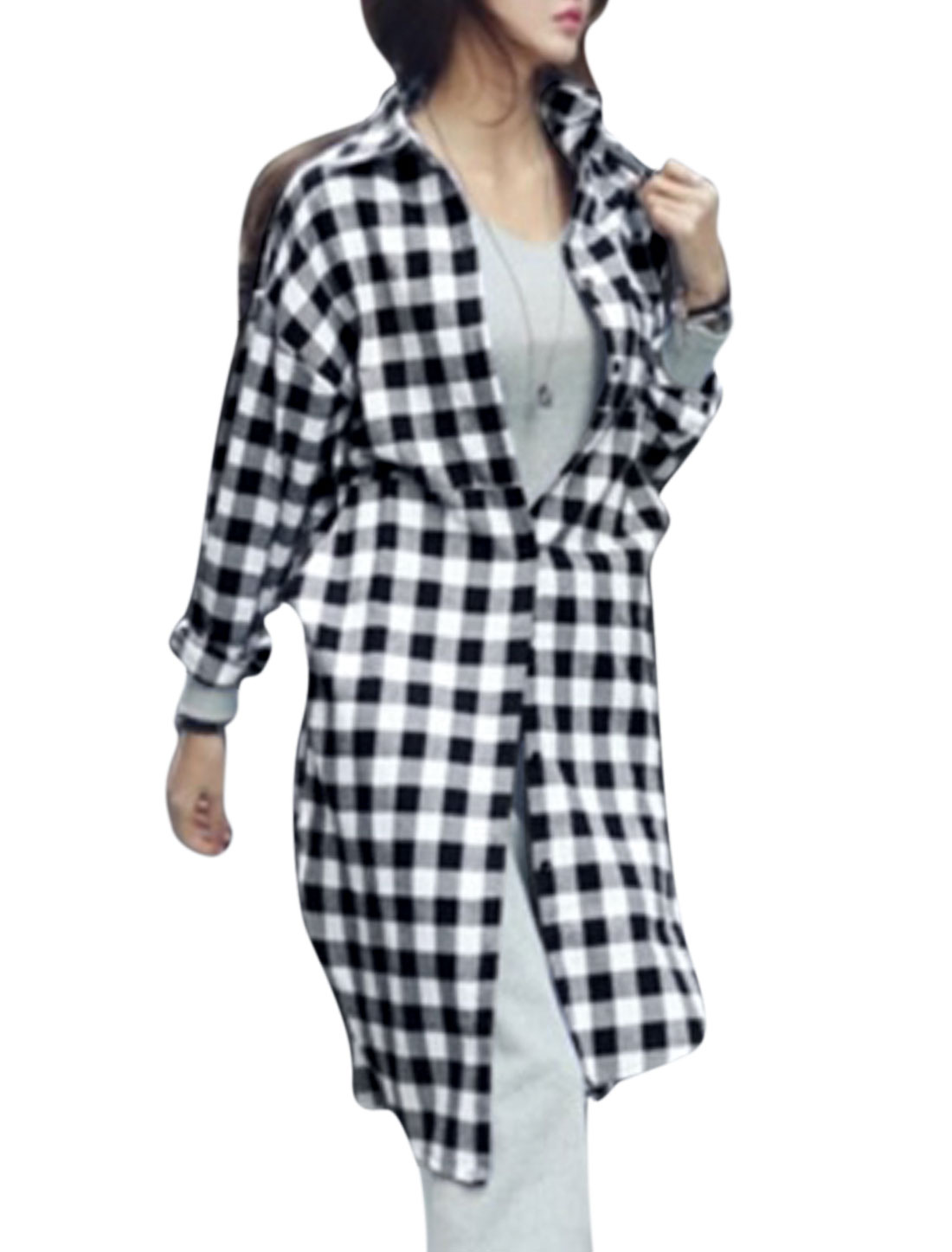 Lady Plaids Pattern Single Breasted Split Side Tunic Shirt Black White L
