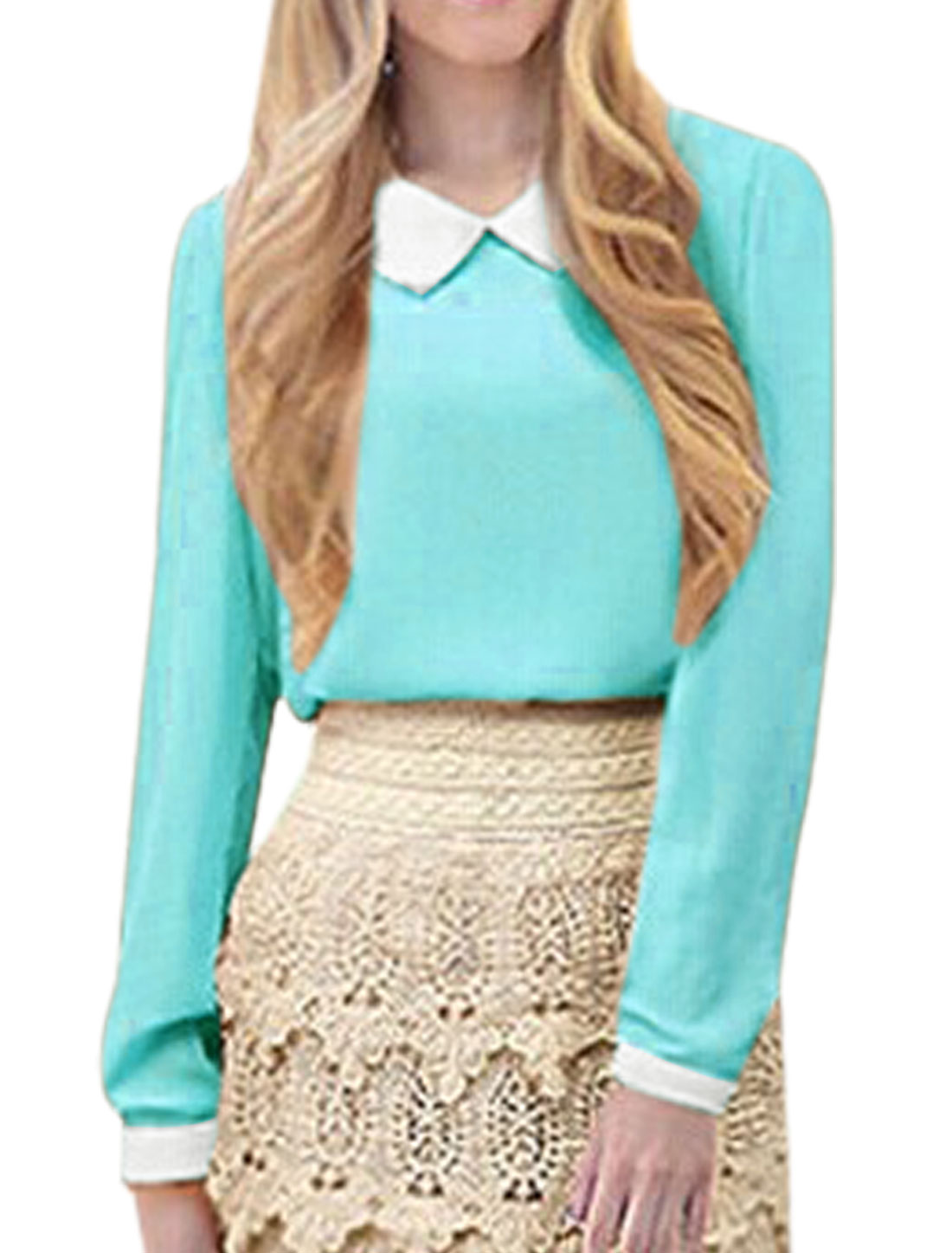 Ladies Peter Pan Collar Long Sleeves Chiffon Shirt Sky Blue M