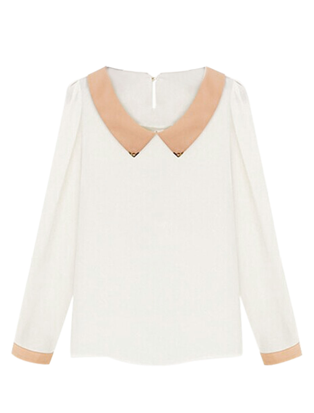 Peter Pan Collar Sweet White Chiffon Shirt for Lady M