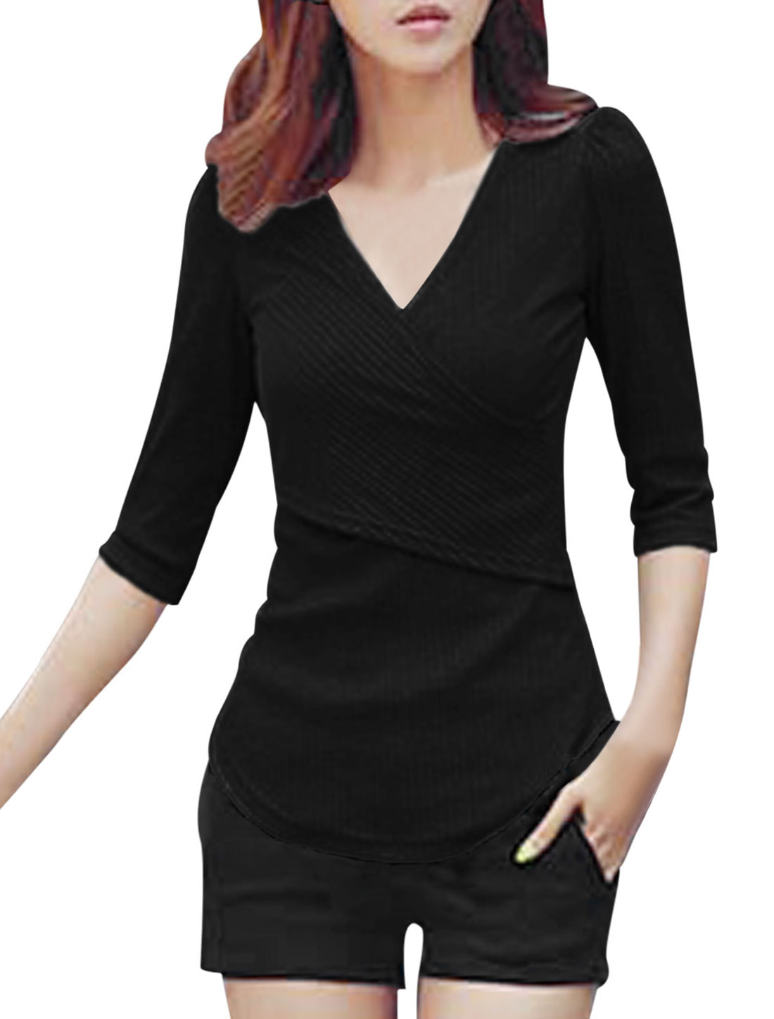 Women Crossover V-neck Half Sleeves Slim Fit Shirt Black M