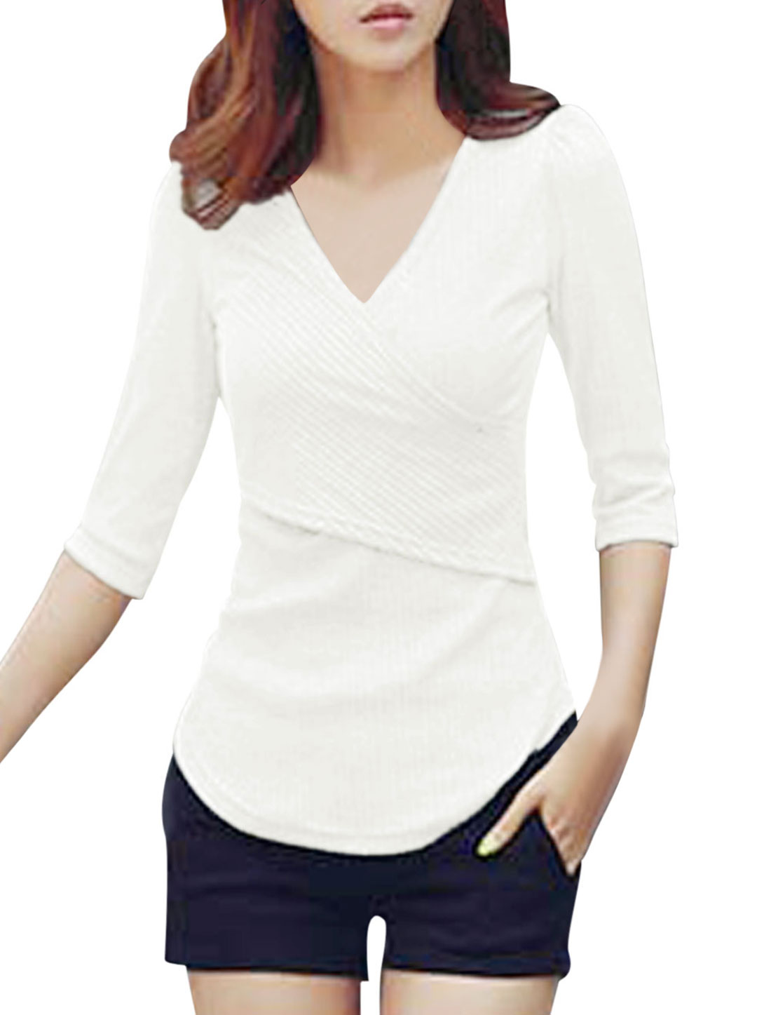 Ladies Form-fitting Pullover Sexy Crossover V-neck Shirt White M