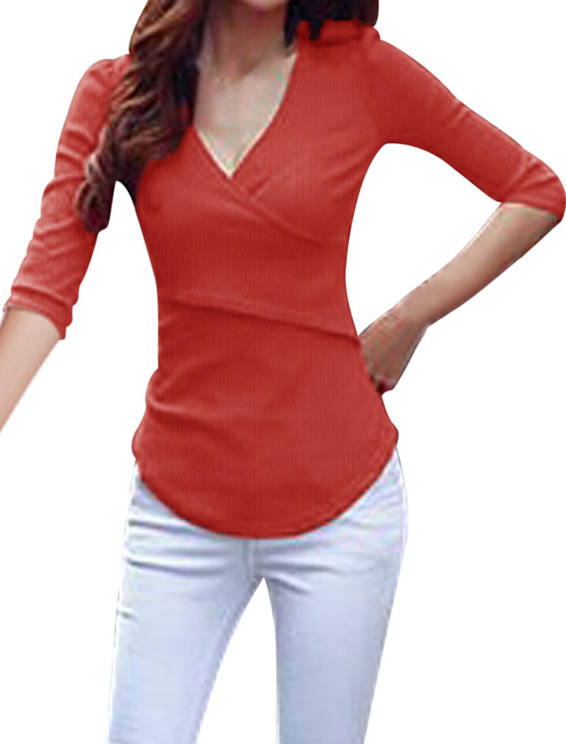 Crossover V-neck 1/2 Sleeves Red Casual Shirt for Lady M