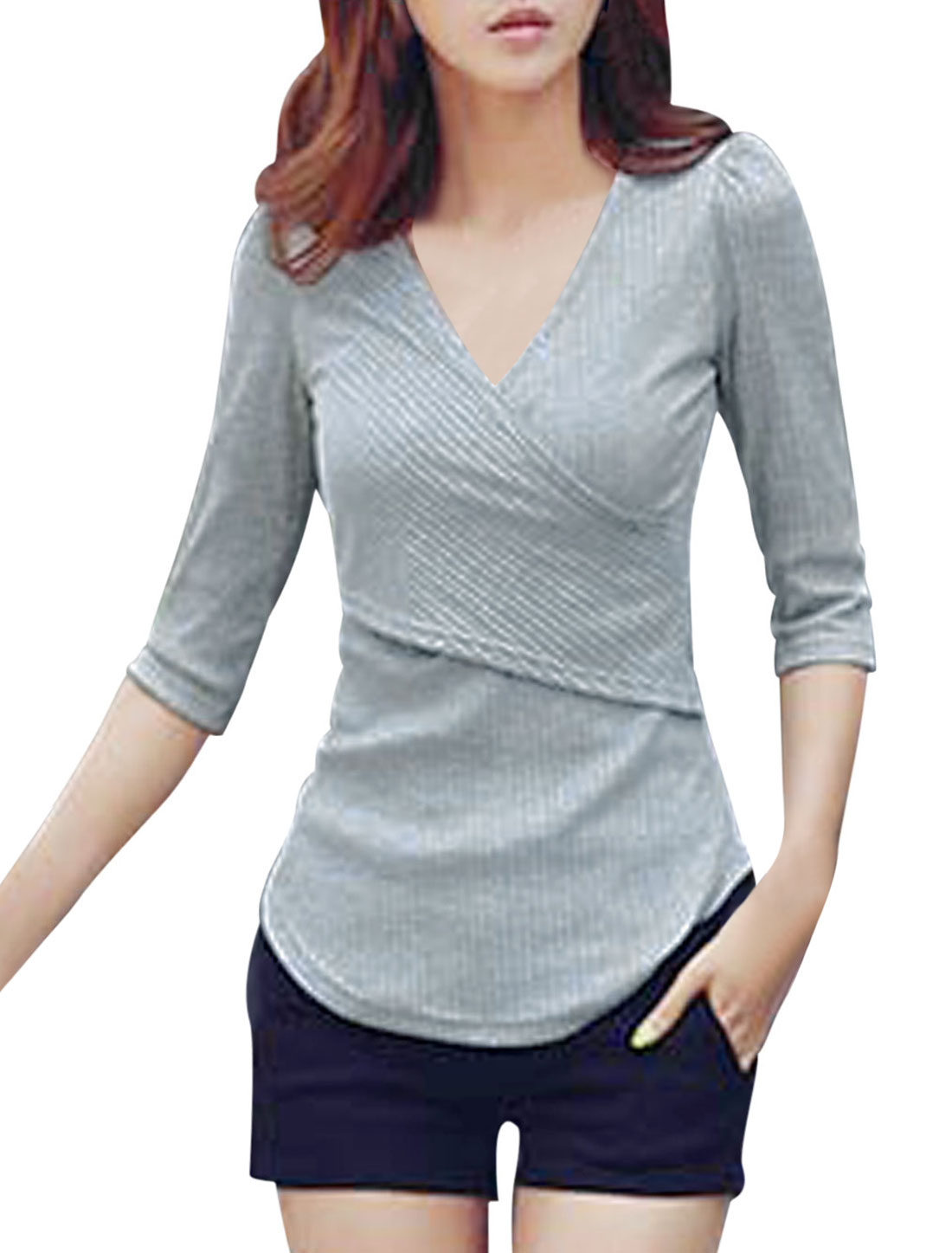 Women Sexy Crossover V-neck Pullover Slim Fit Shirt Light Gray M