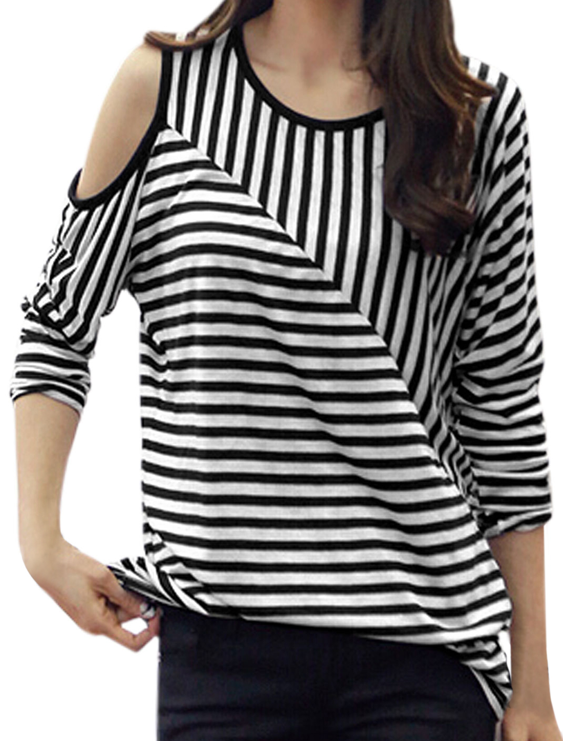 Women Stripes Cut Out Shoulder Batwing Sleeves Tunic Top Black White S