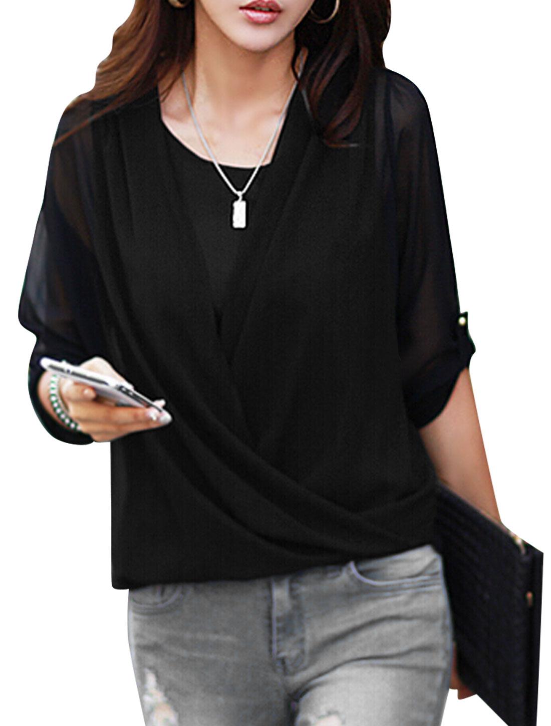 Lady Drapped Front Design Chiffon Blouse w U Neck Tank Top Black S