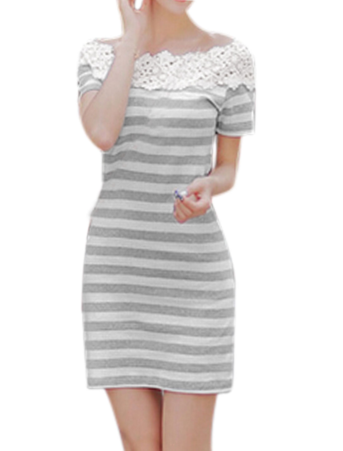 Women Off Shoulder Stripes Crochet Flower Spliced Sheath Dress Gray White M
