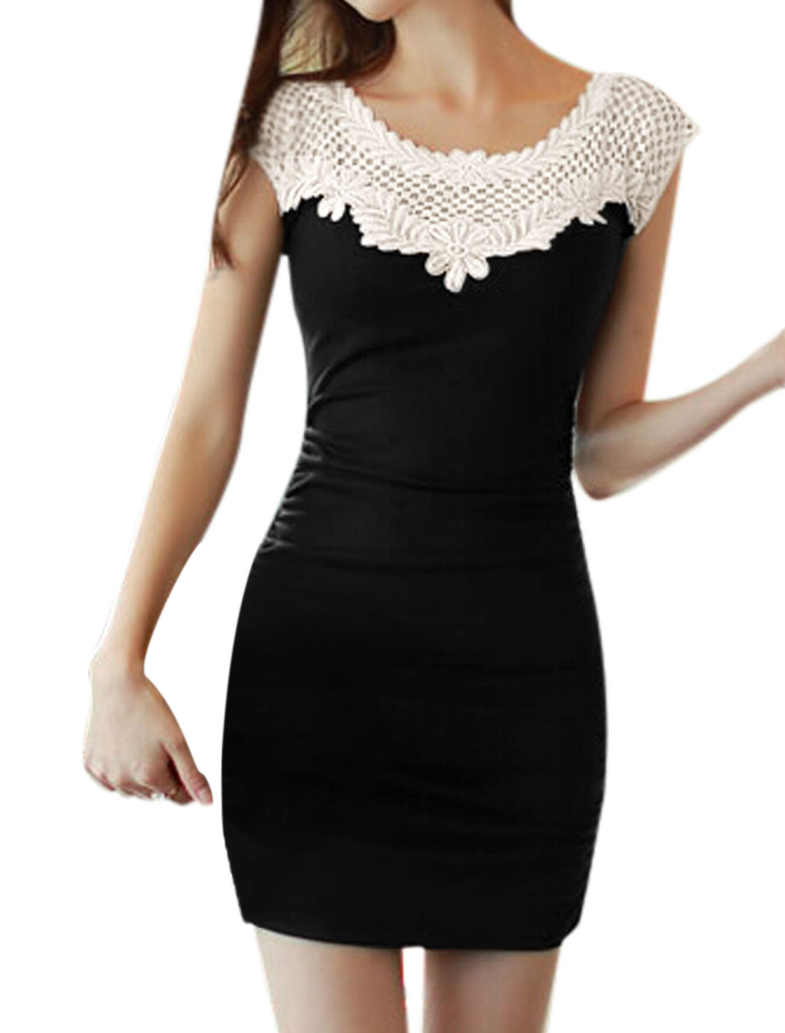 Women Scoop Neck Sleeveless Crochet Flower Decor Sheath Dress Black S