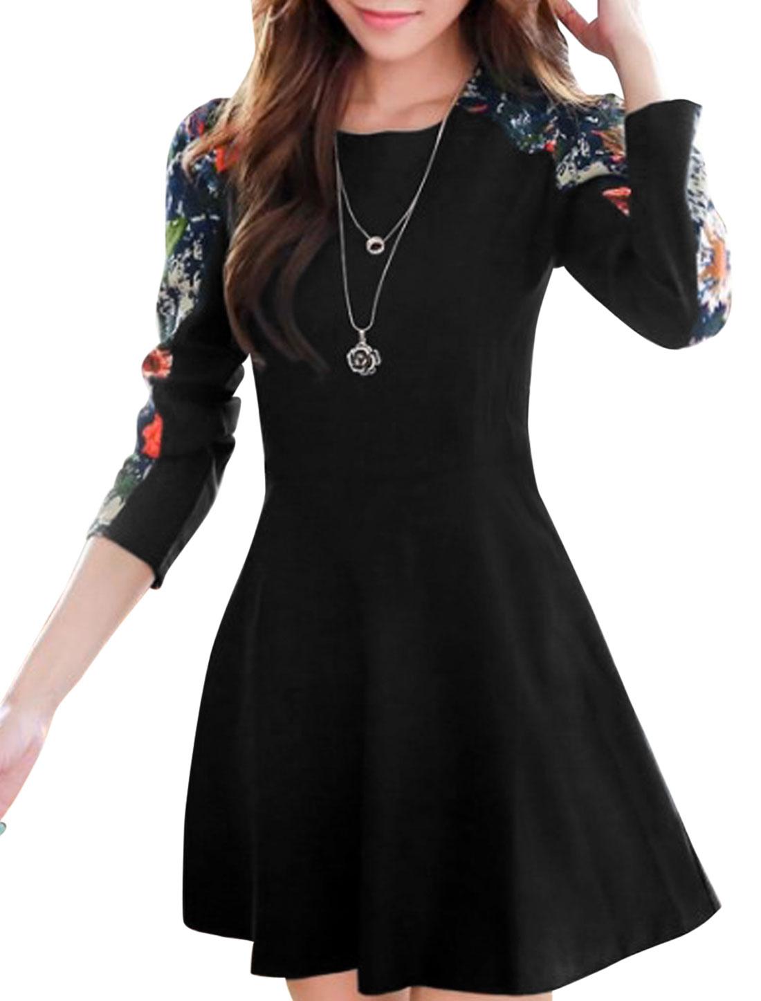 Women Spliced Floral Pattern Round Neck Long Sleeve Short Dress Black M