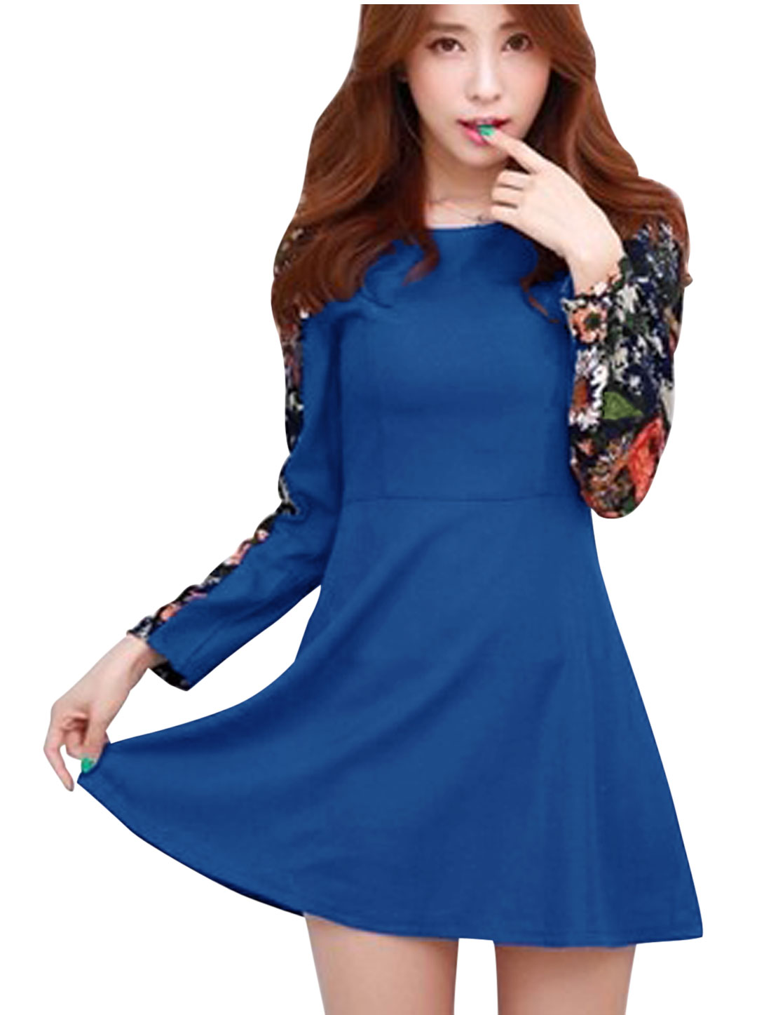 Lady Slipover Splicing Floral Pattern Leisure Short Dress Royal Blue M