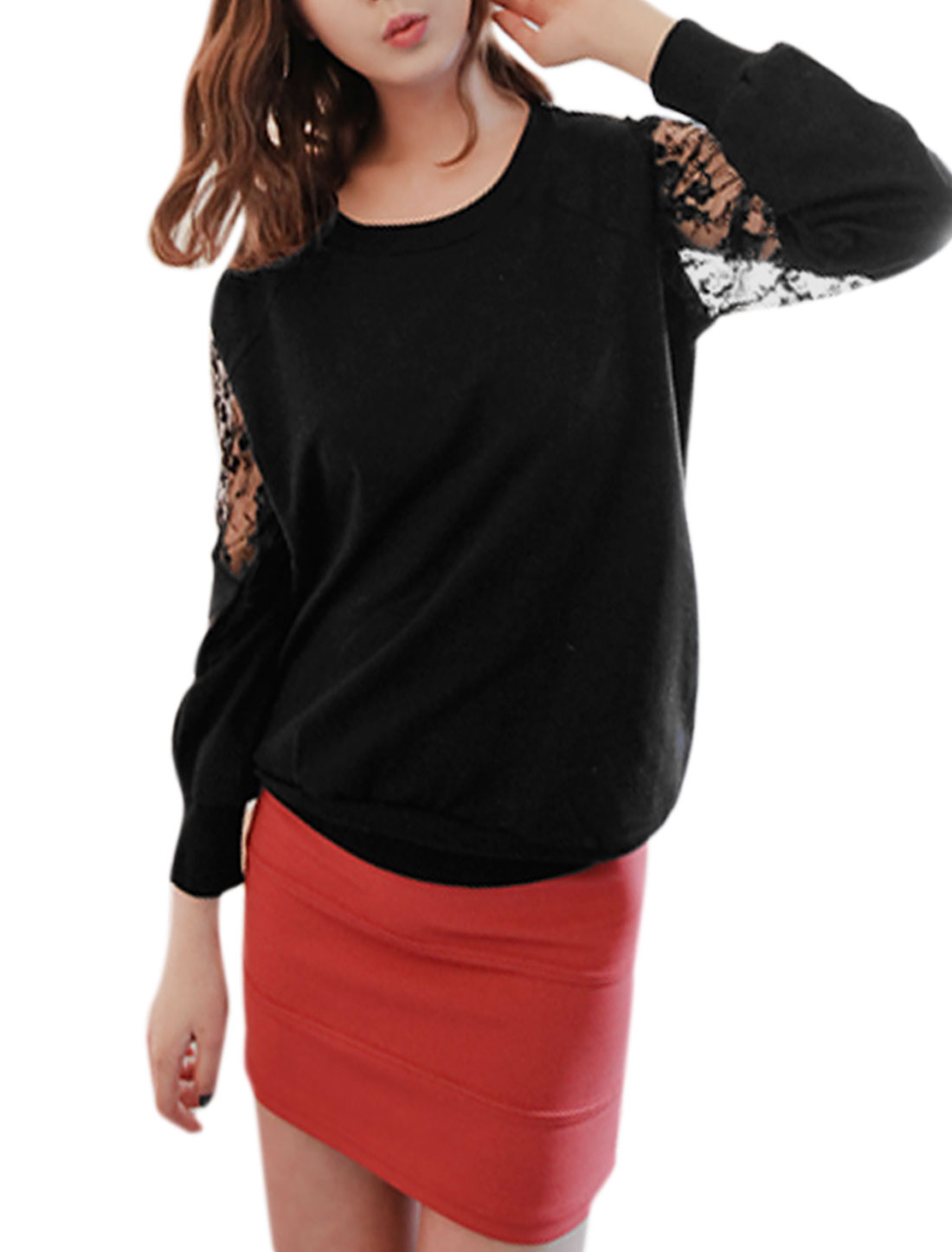 Women Round Neck Lace Panel Long Sleeves Sweatshirt Black S