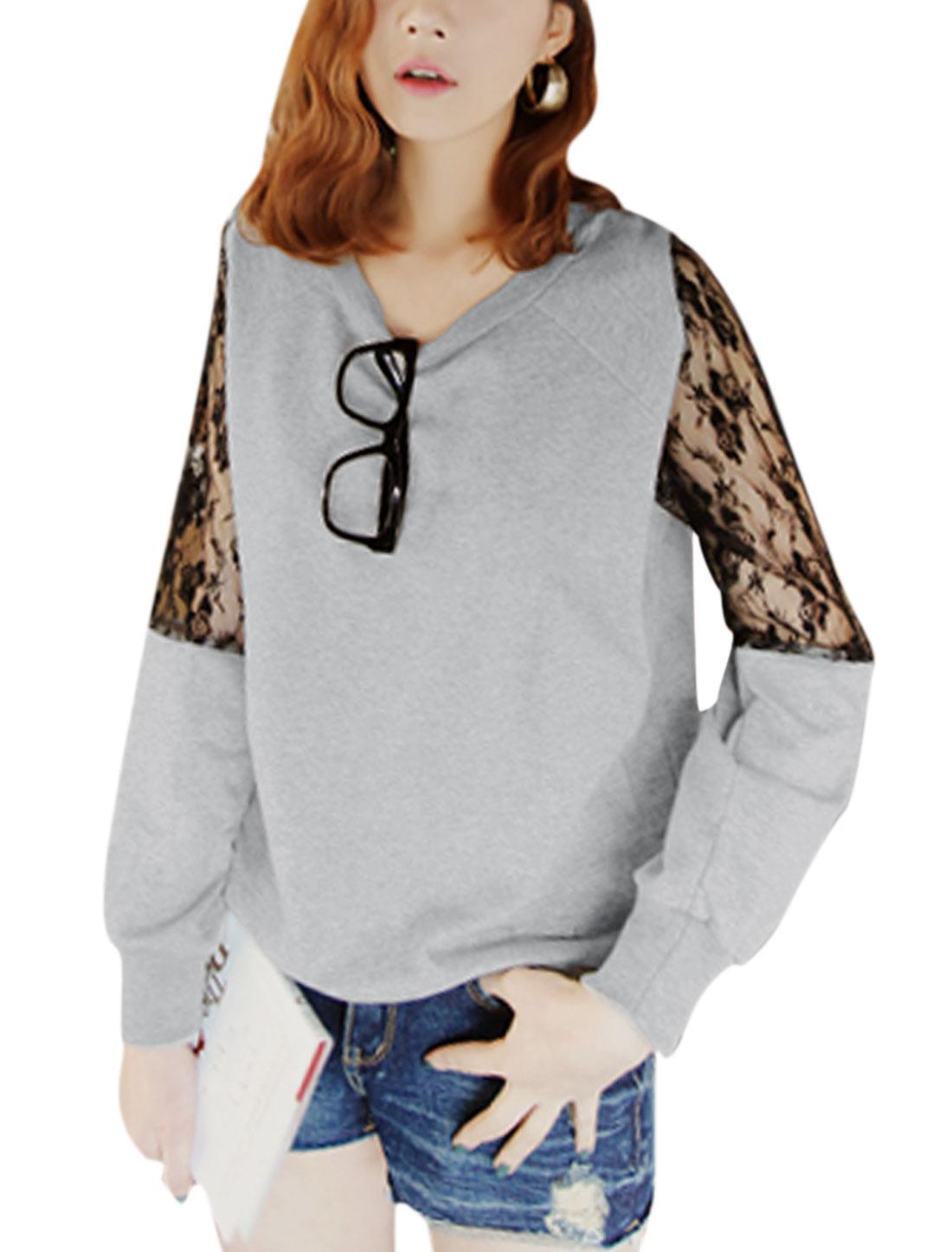 Ladies Pullover Semi Sheer Lace Spliced Sleeves Gray Sweatshirt S