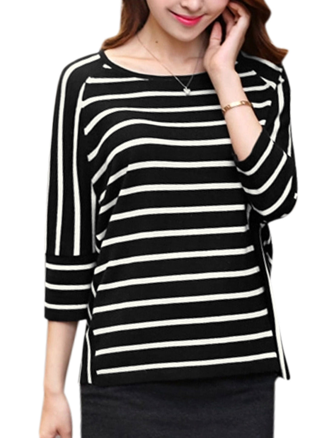 Women Scoop Neck 3/4 Sleeves Stripes Casual Shirt Black XS