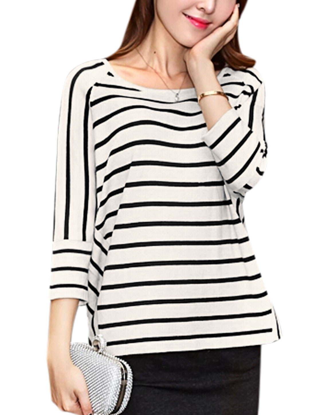 Ladies Stripes Raglan Sleeves Pullover Casual Shirt White XS