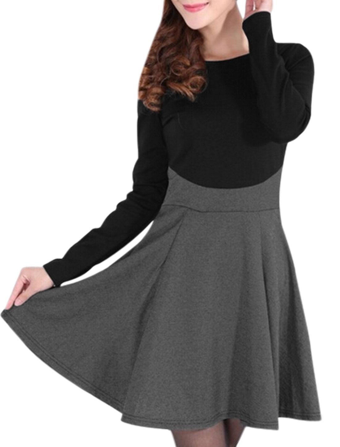 Women Round Neck Long Sleeve Color Block Short Dress Dark Gray Black S