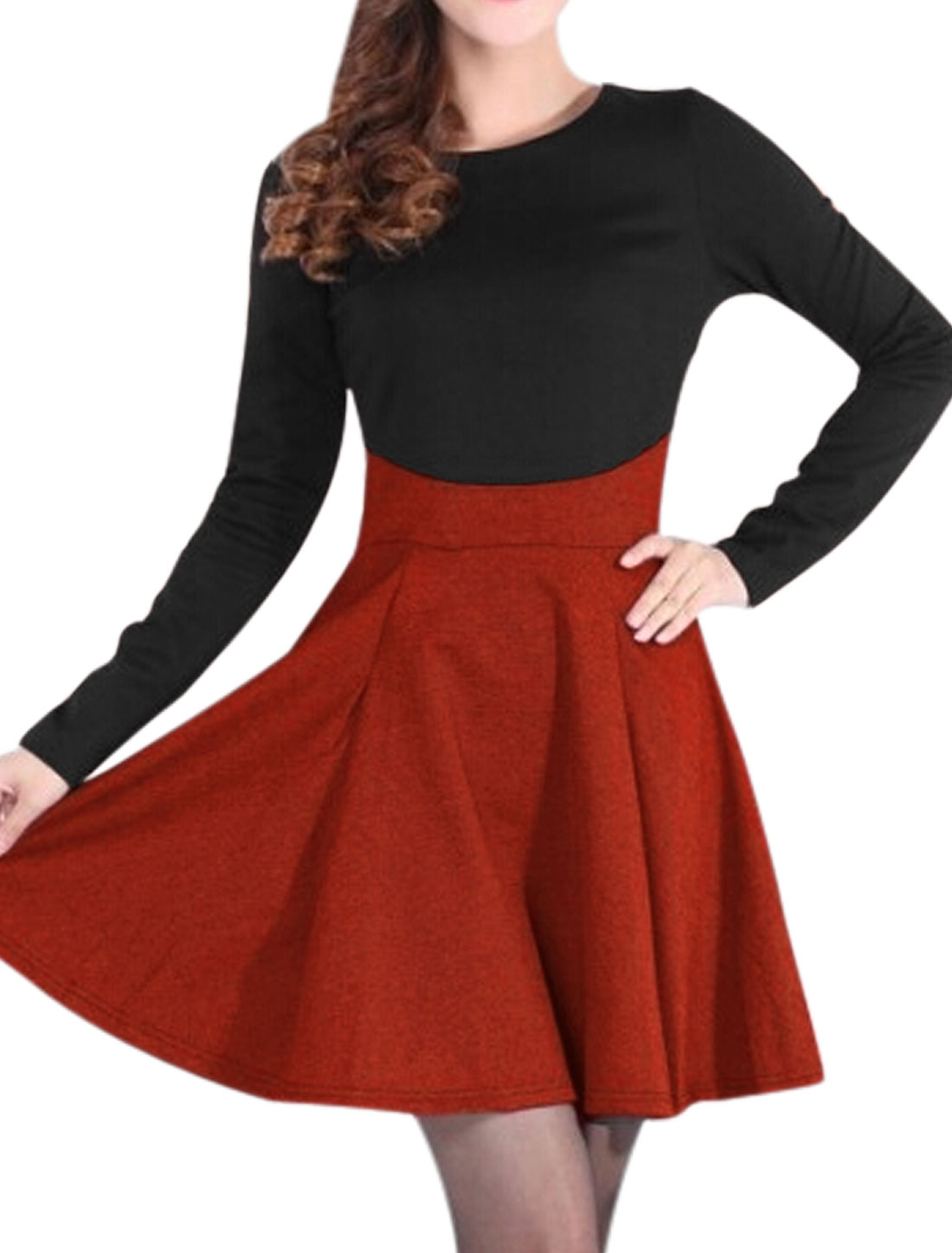 Lady Pullover Contrast Color Long Sleeve Short Dress Brick Red Black S
