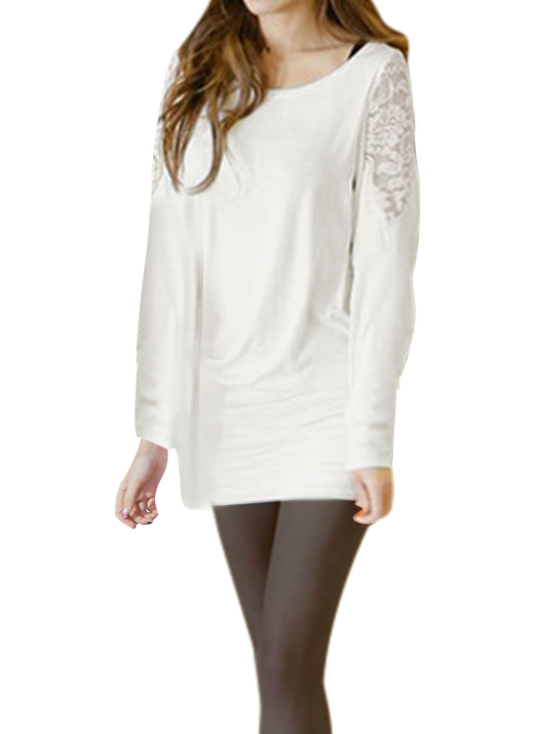 Women Round Neck Lace Panel Long Batwing Sleeves Tunic Top White XS