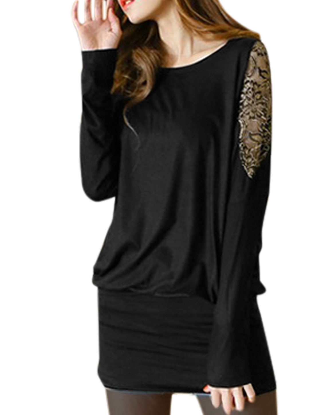 Ladies Pullover Lace Panel Sleeves Tunic Top Black XS