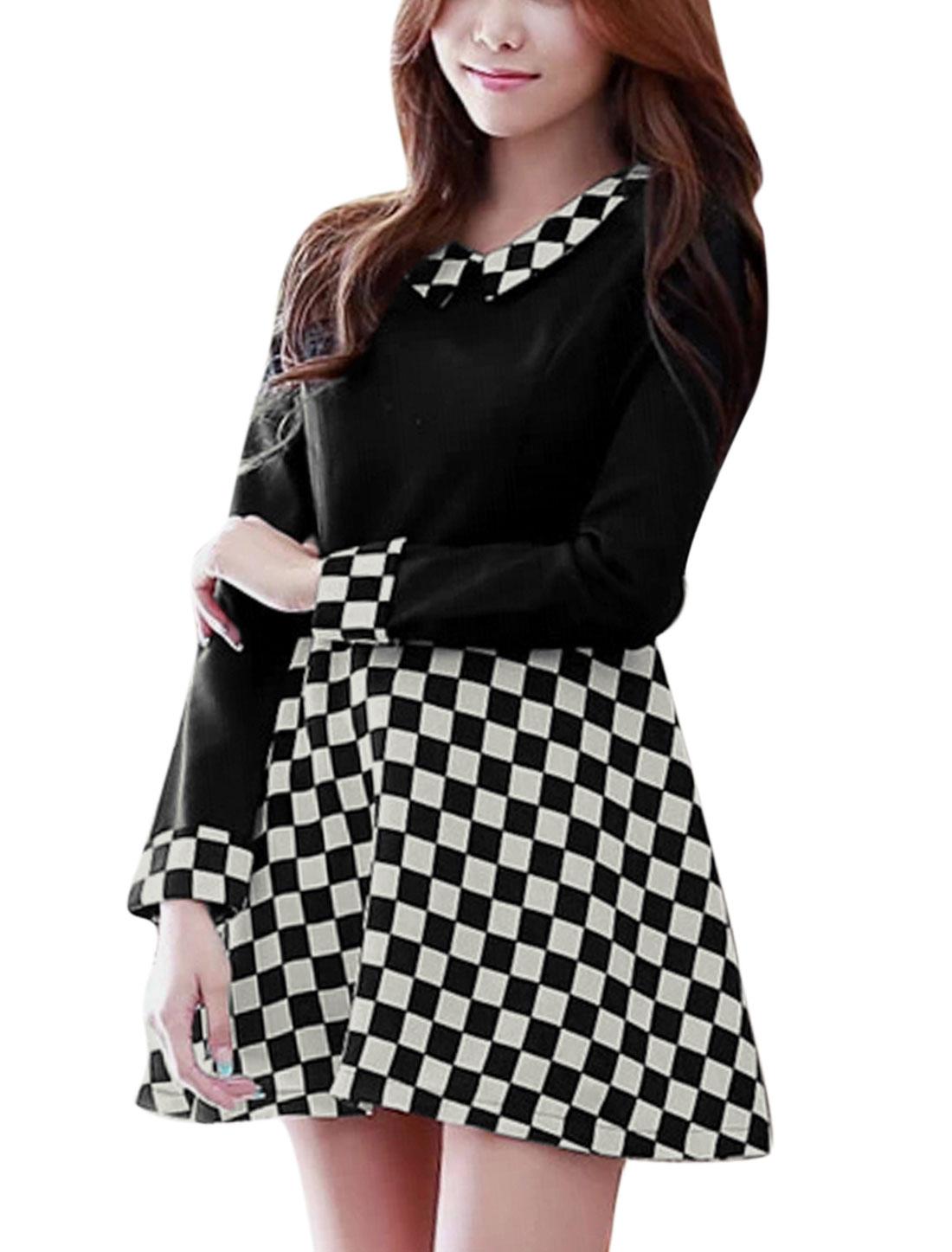 Women Plaids Doll Collar Long Sleeves A-line Dress Black M