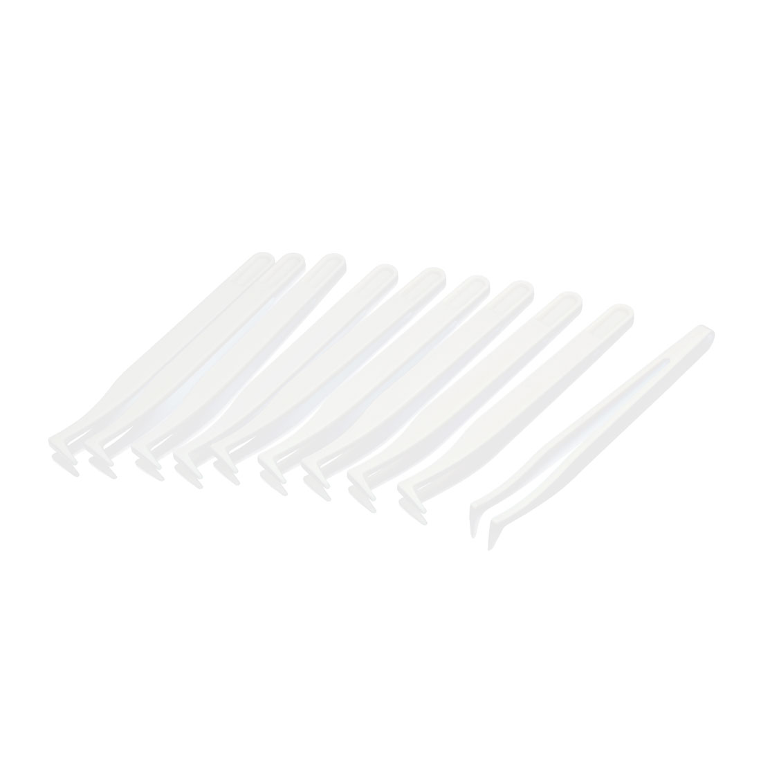 10pcs Anti Static Plastic Curved Tip Tweezer Nipper White 12cm