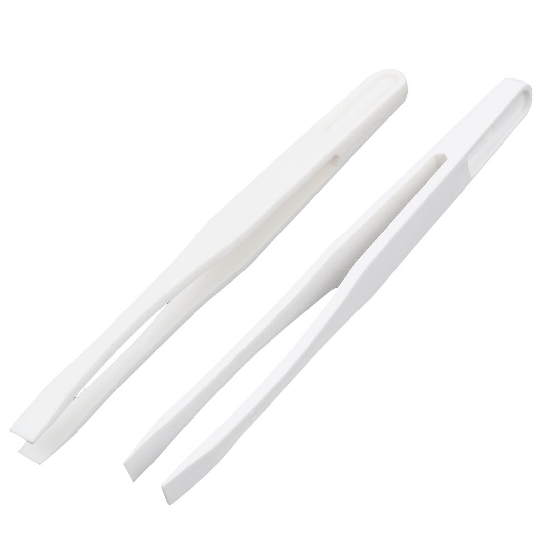 "2pcs 0.24"" Flat Tip White Plastic Anti Static Tweezer 12cm Length"