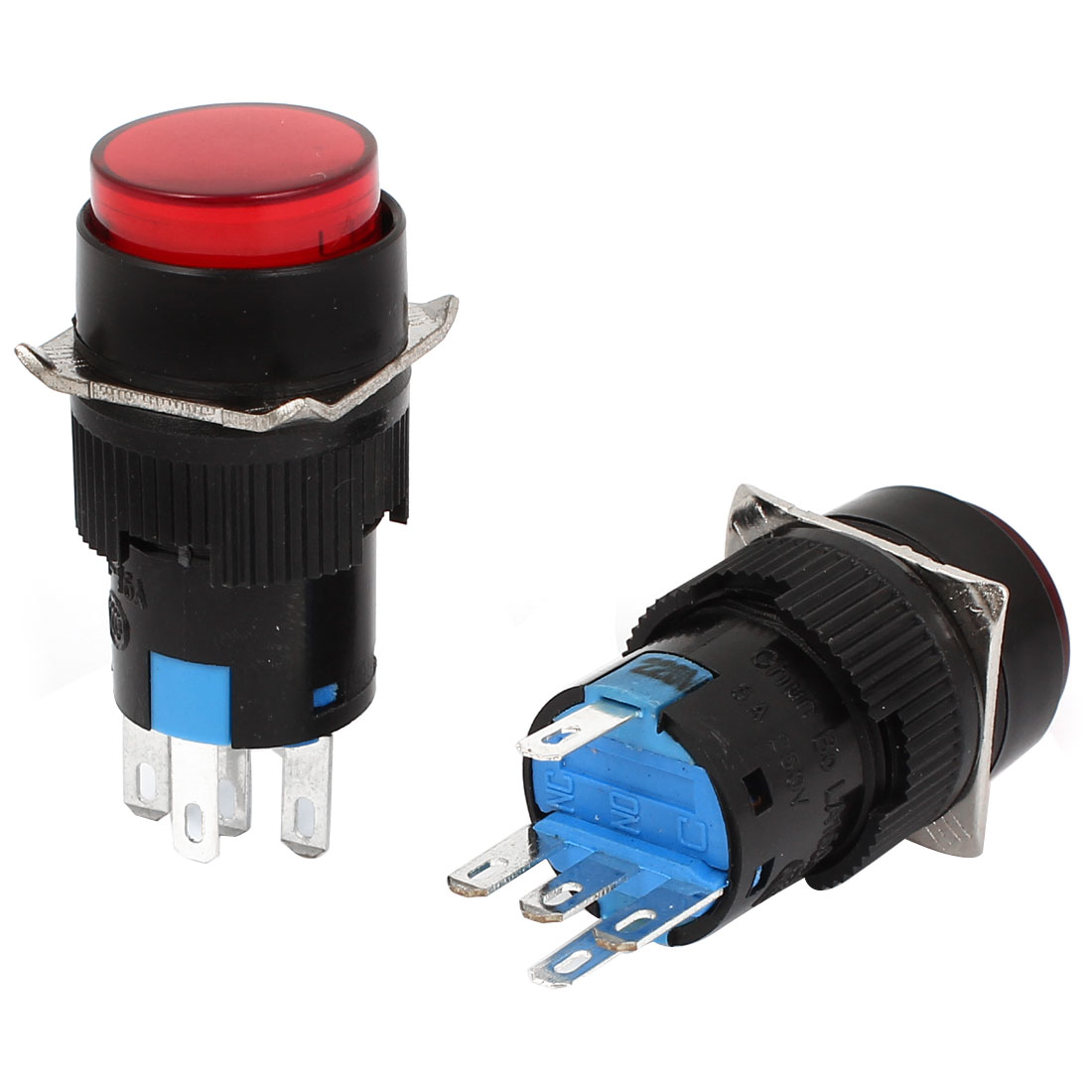 2pcs AC220V Red Light SPDT Locking Round Push Button Switch 15mm