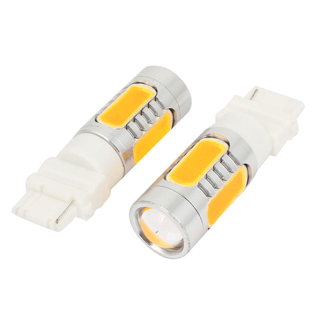 Pair 3156 7.5W Yellow SMD LED Car Reverse Brake Signal Lamp Tail Light Bulb 12V