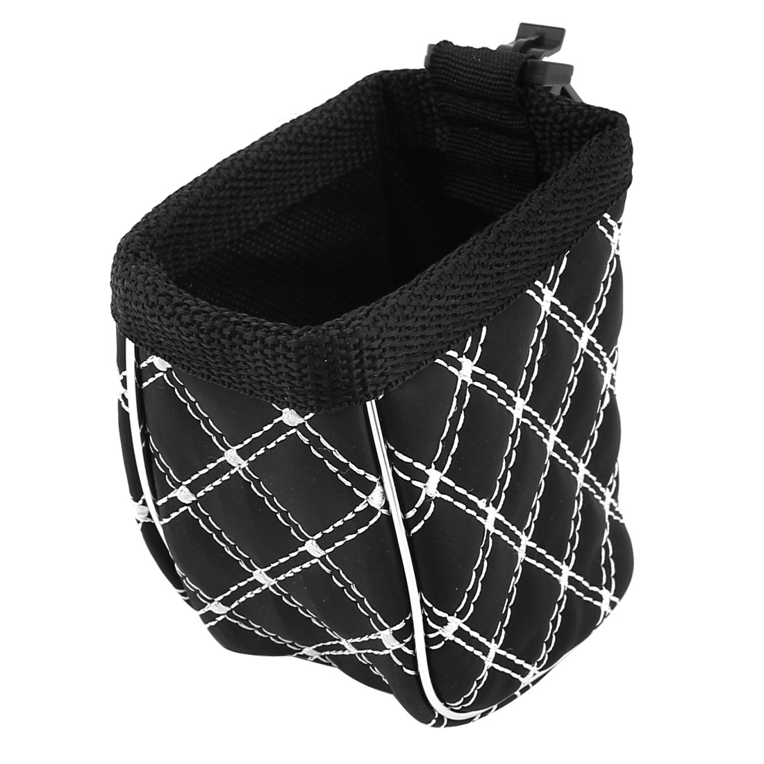 Vehicle Car Air Vent Mount Plaid Pattern Phone Sundries Storage Holder Bag Black