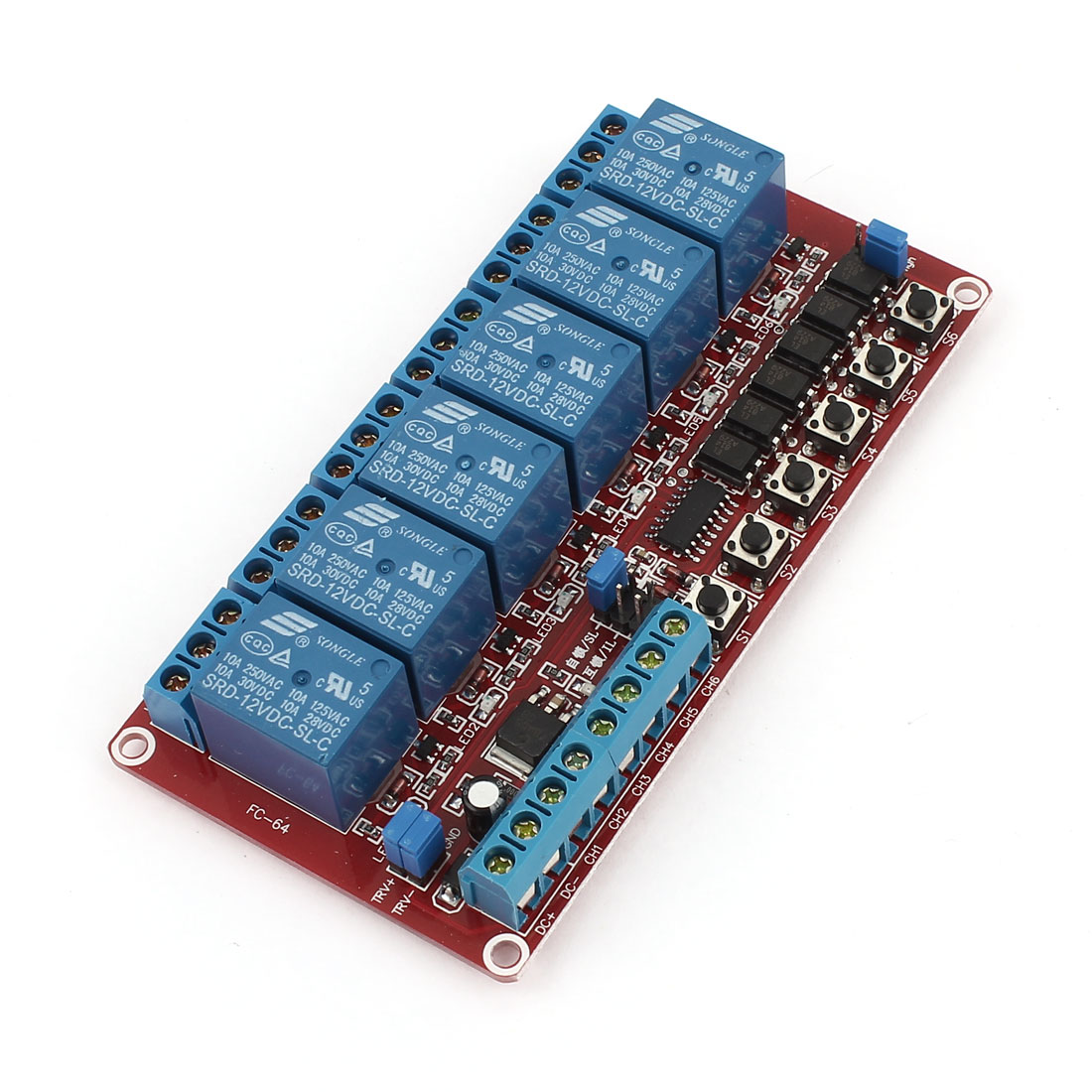 DC 12V 6 Channel Self-lock Interlock Triggered Relay Module for PIC