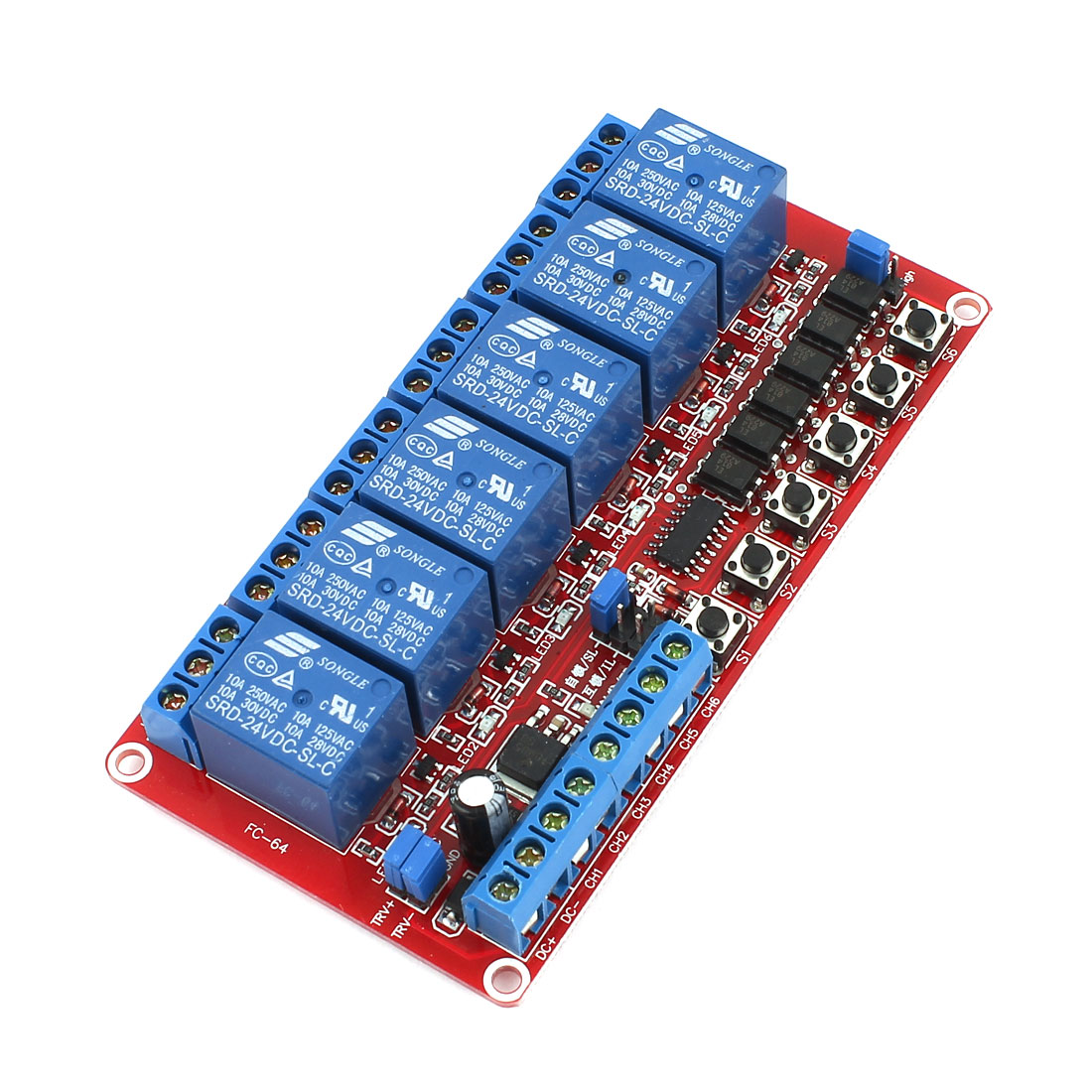 DC 24V 6 Channel Self-lock Interlock Triggered Relay Module for PIC