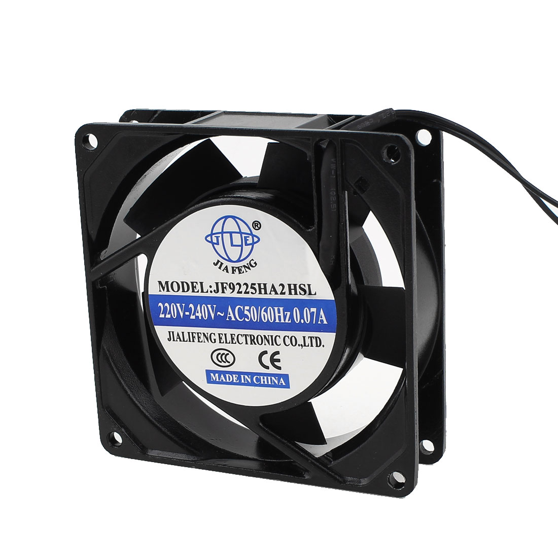 AC 220V-240V 0.07A 2 Wires Sleeve Bearing Axial Cooling Fan 92mm x 25mm 9225