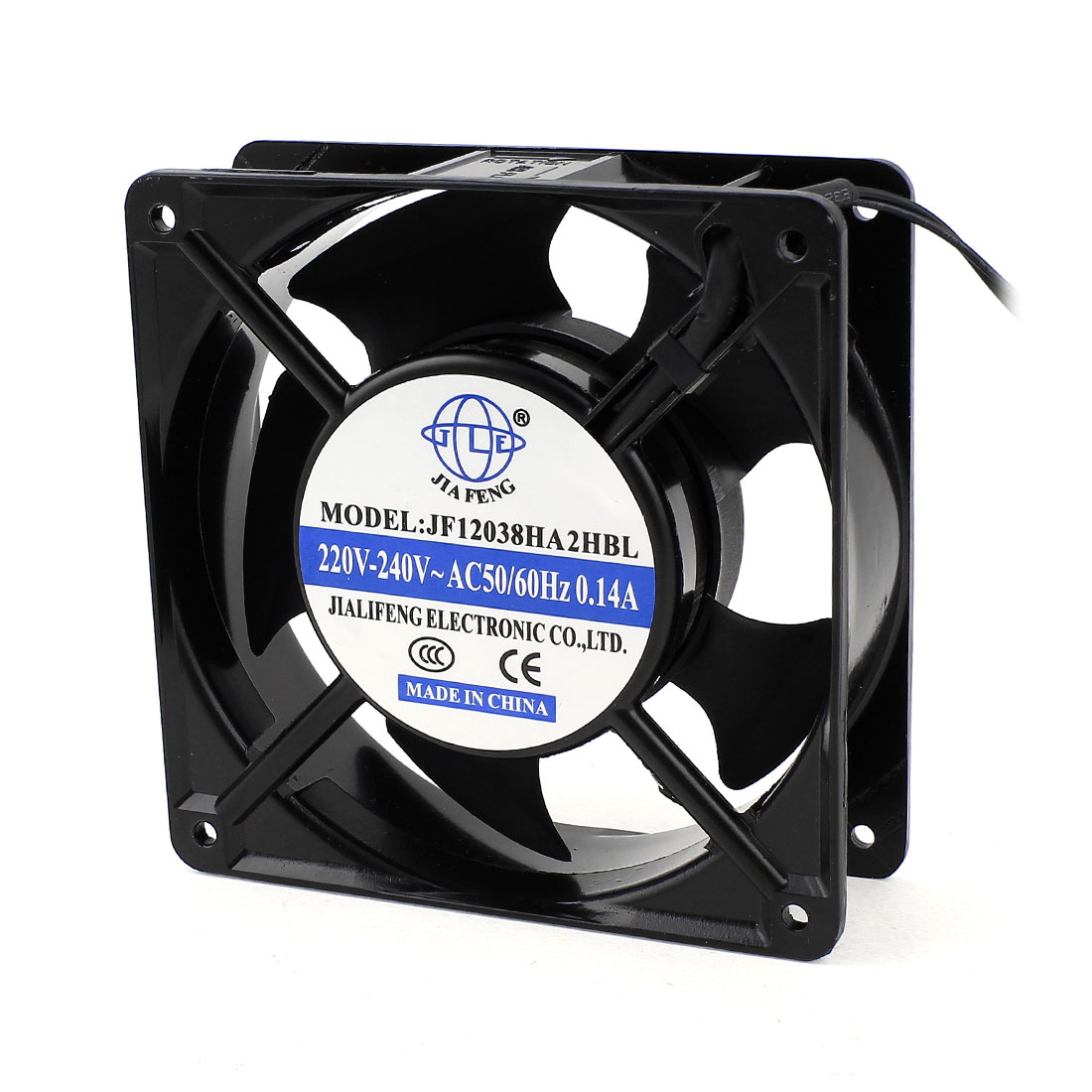 AC 220V-240V 0.14A 2 Wires Ball Bearing Axial Cooling Fan 120mm x 38mm 12038