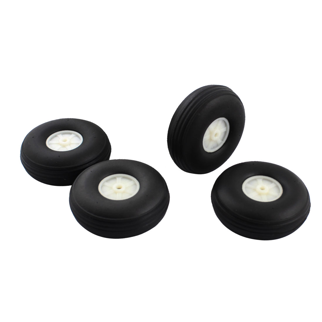 "DIY Robot Airplane Model Part 0.15"" Hole Black Rubber Wheel Tire Tyre 63.5mm x 22mm 4Pcs"