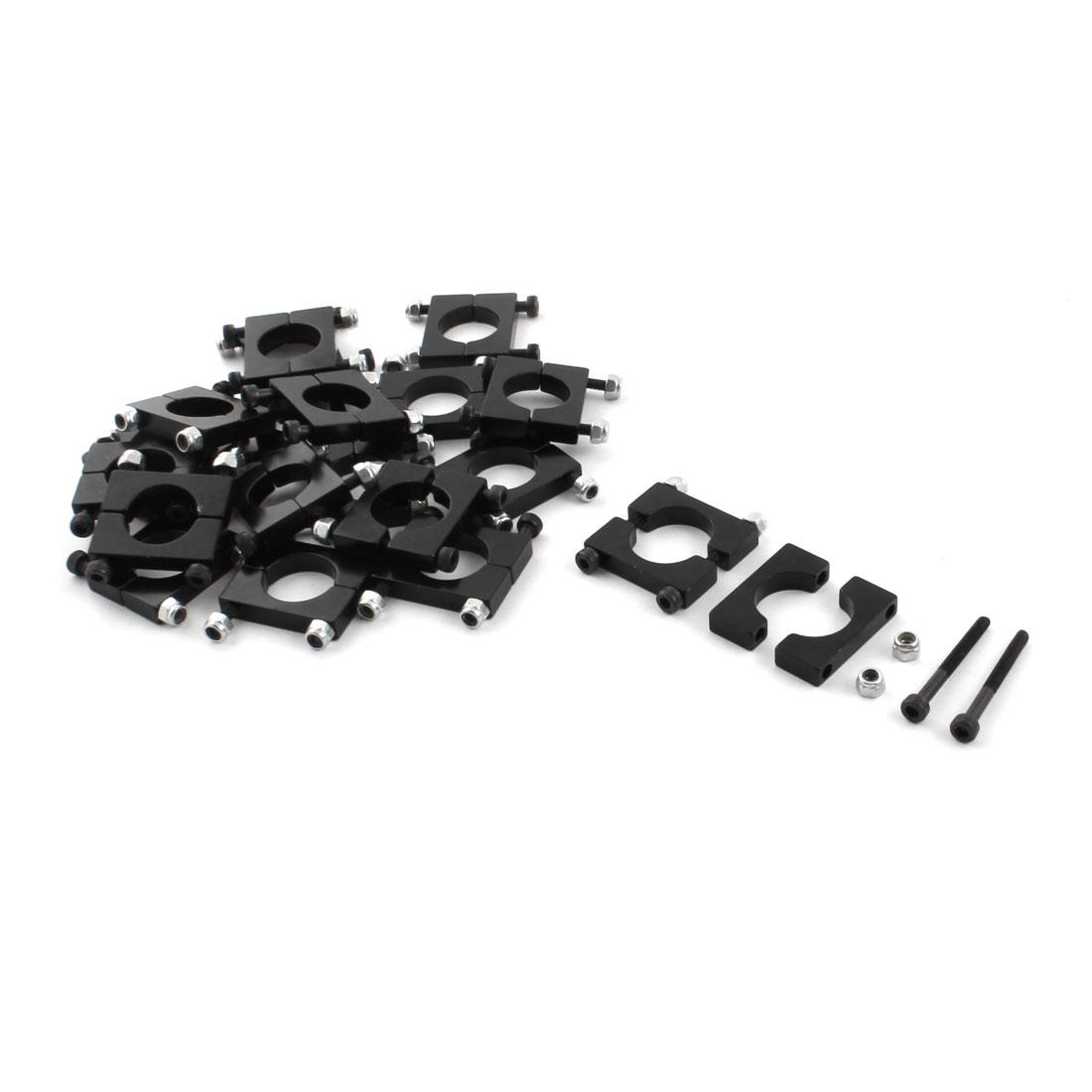 20 Pcs 16mm Black Aluminum Clamp for Carbon Fiber Tube RC Quadcopter Hexrcopter