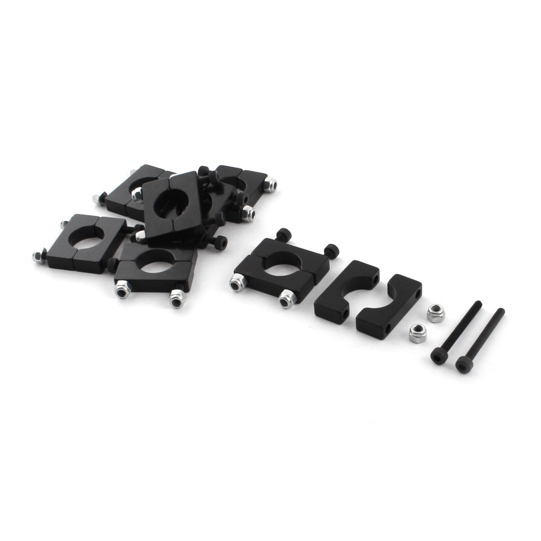 8 Pcs 12mm Black Aluminum Clamp for Carbon Fiber Tube RC Quadcopter Hexrcopter