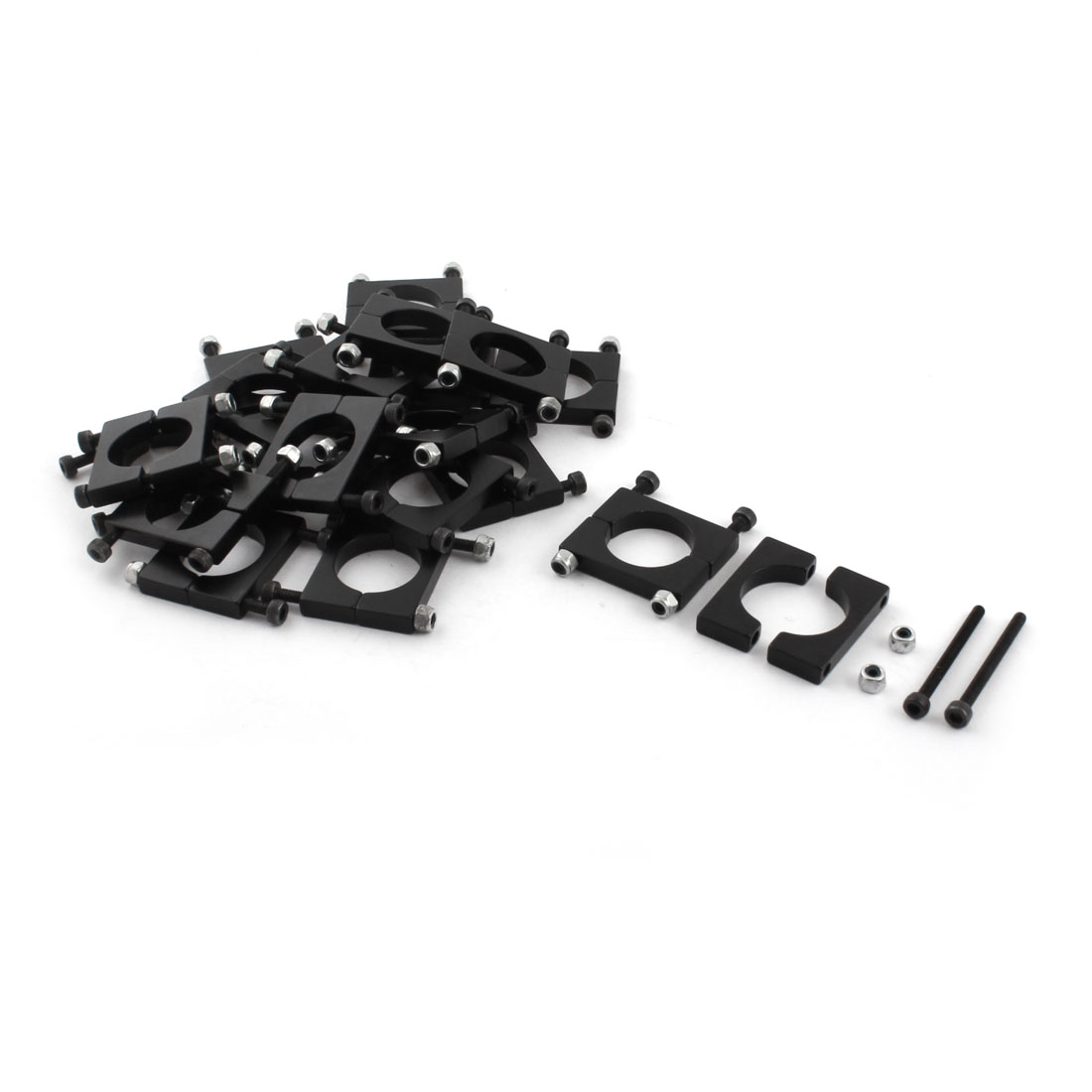20 Pcs 20mm Black Aluminum Clamp for Carbon Fiber Tube RC Quadcopter Hexrcopter