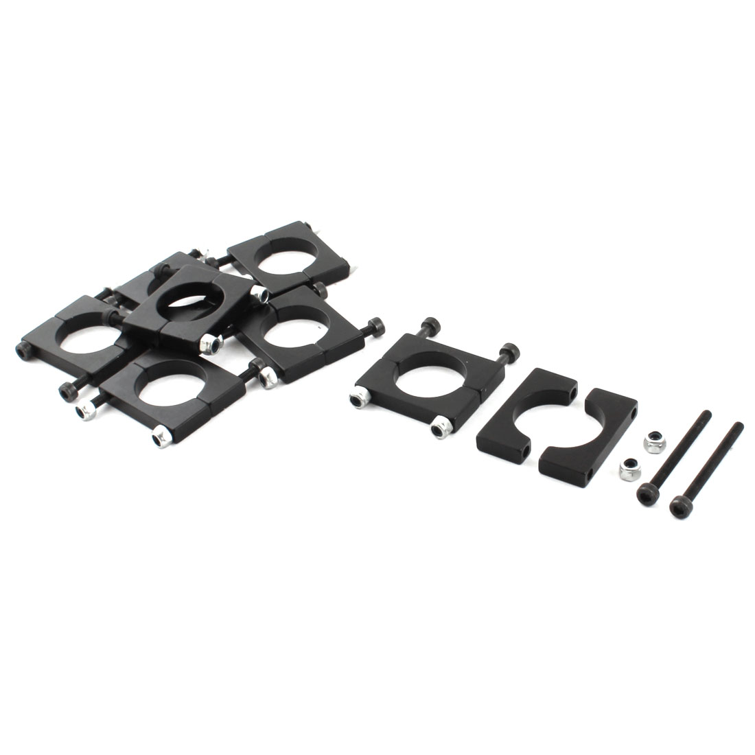 8 Pcs 20mm Black Aluminum Clamp for Carbon Fiber Tube RC Quadcopter Hexrcopter