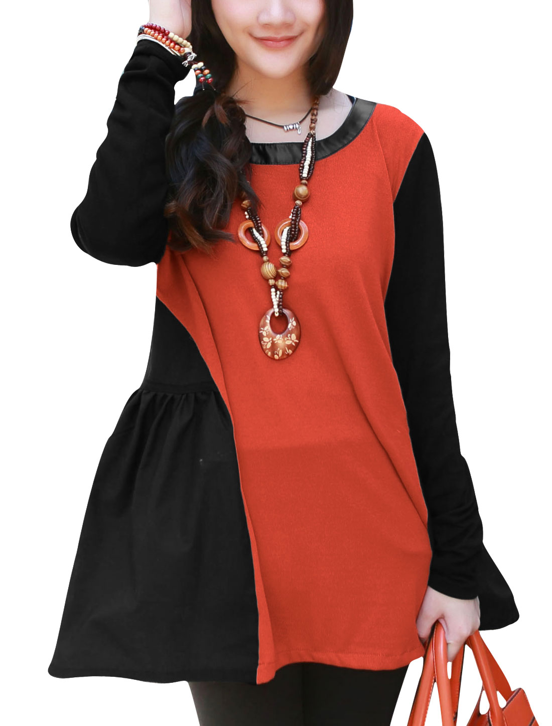 Maternity Spliced Contrast Color Slipover Top Orange Red Black L