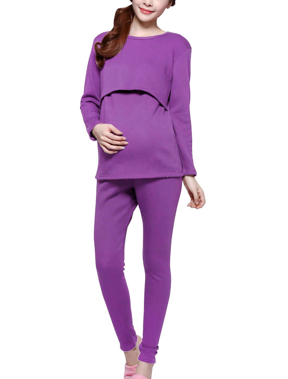 Maternity Slipover Adjustable Drawcord Waist Pajama Sleepwear Set Violet S