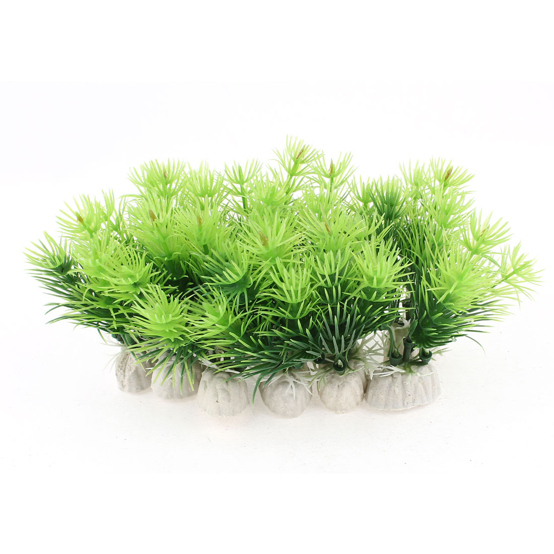 10pcs Green Plastic Emulation Plants Ceramic Base Aquarium Fish Tank Decoration
