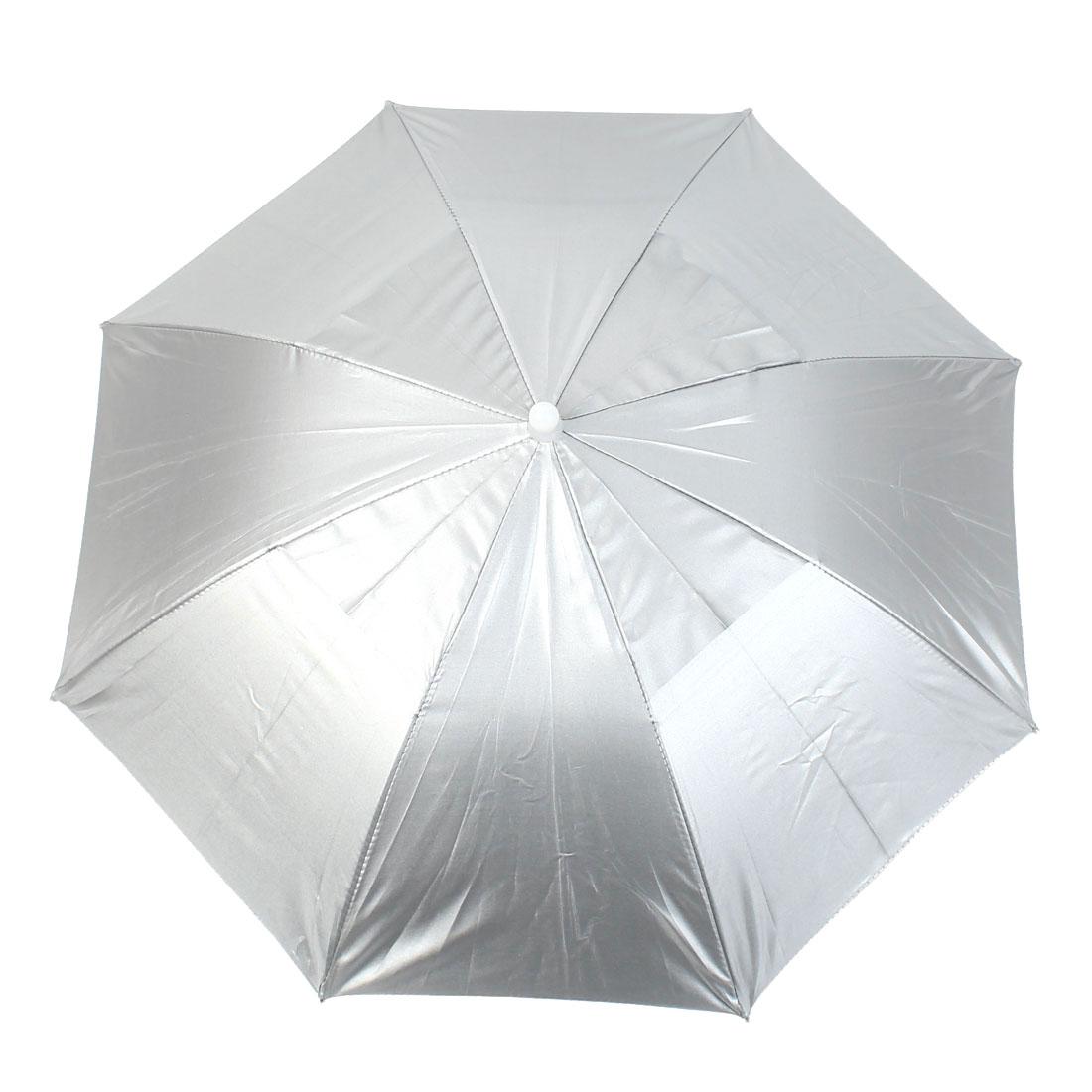 "25"" Dia Foldable Headwear Sun Rain Umbrella Hat Cap Silver Tone"