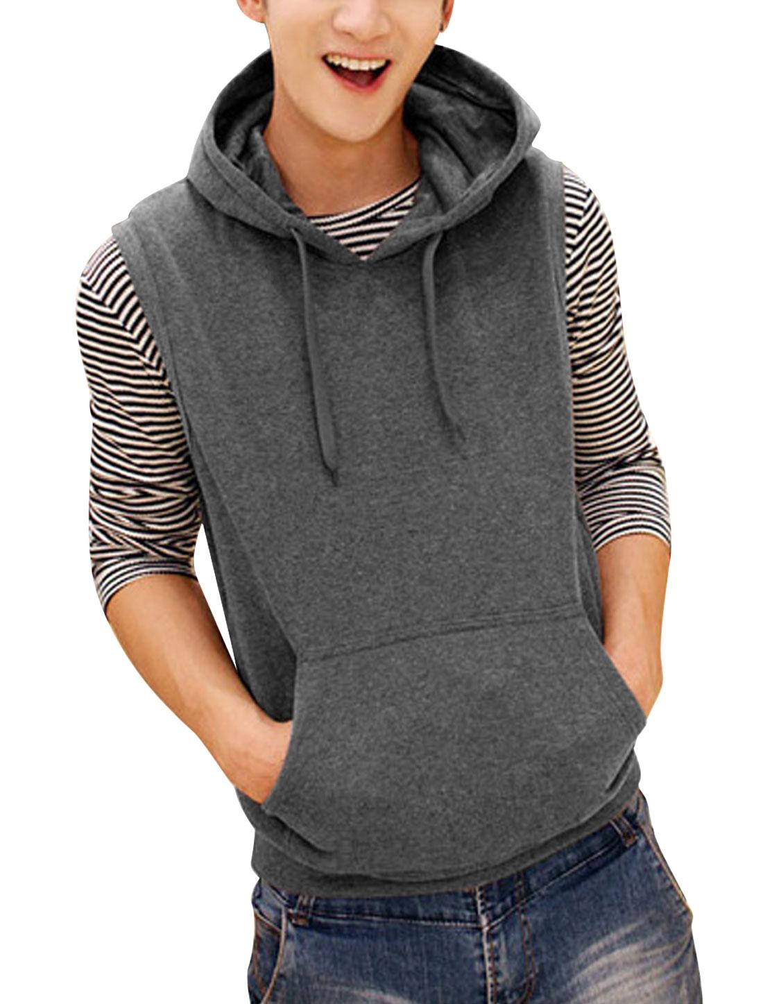 Men Drawstring Hood Sleeveless Kangaroo Pocket Casual Vest Dark Gray M