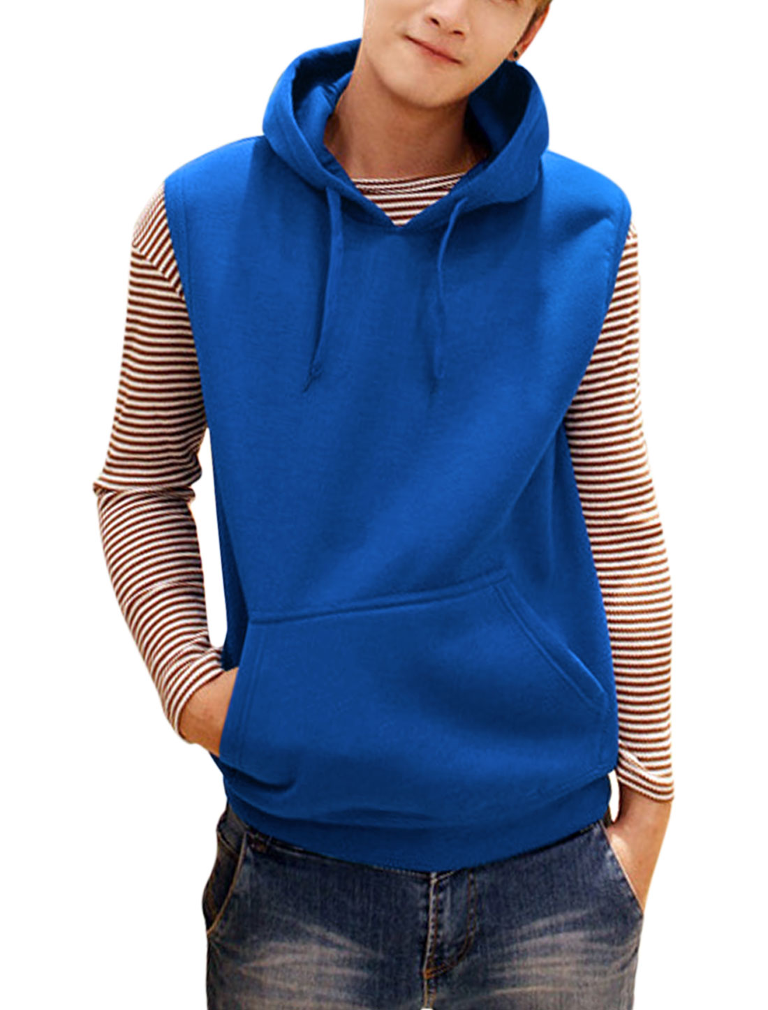Men Drawcord Hood Sleeveless Casual Vest Royal Blue M
