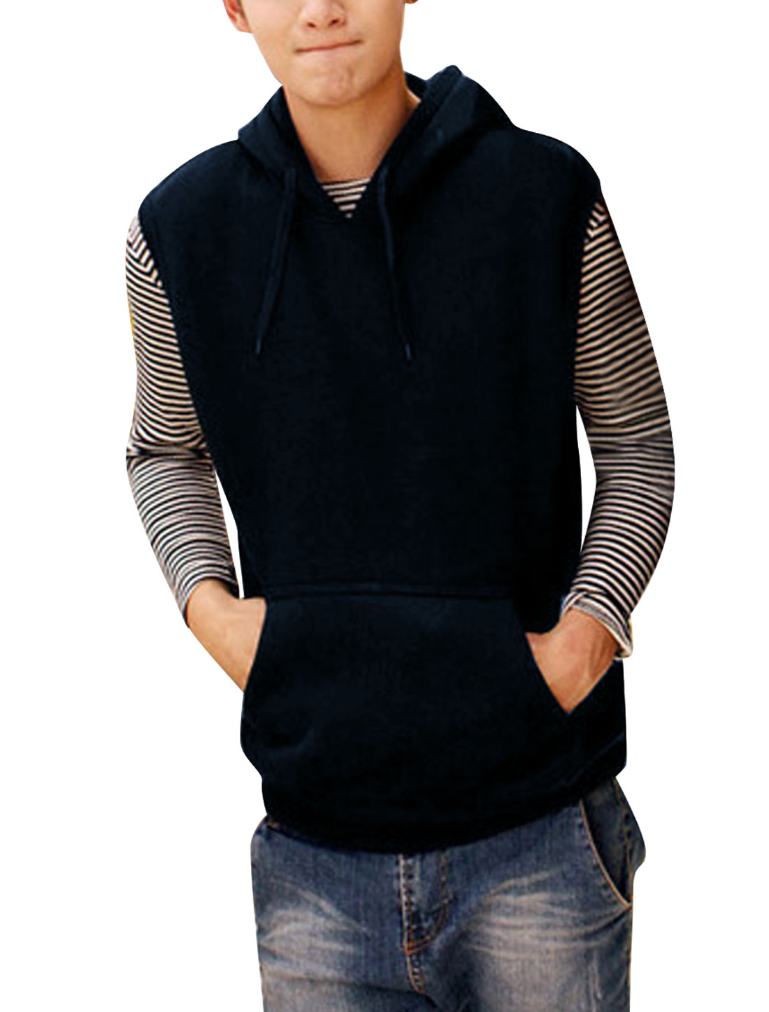 Men Pullover Sleeveless Casual Hooded Vest Navy Blue M