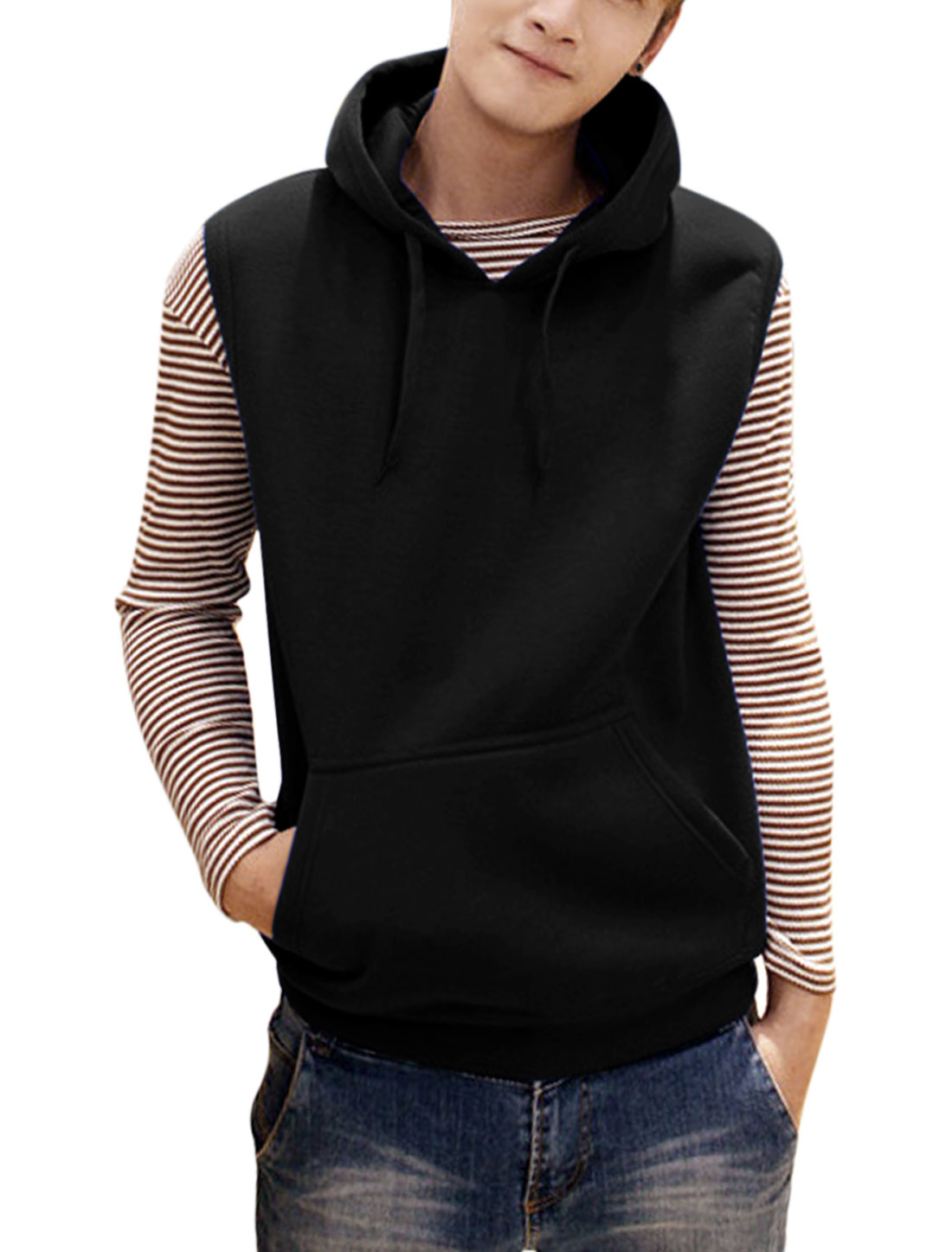 Men Fashion Style Pullover Hooded Leisure Vest Black M