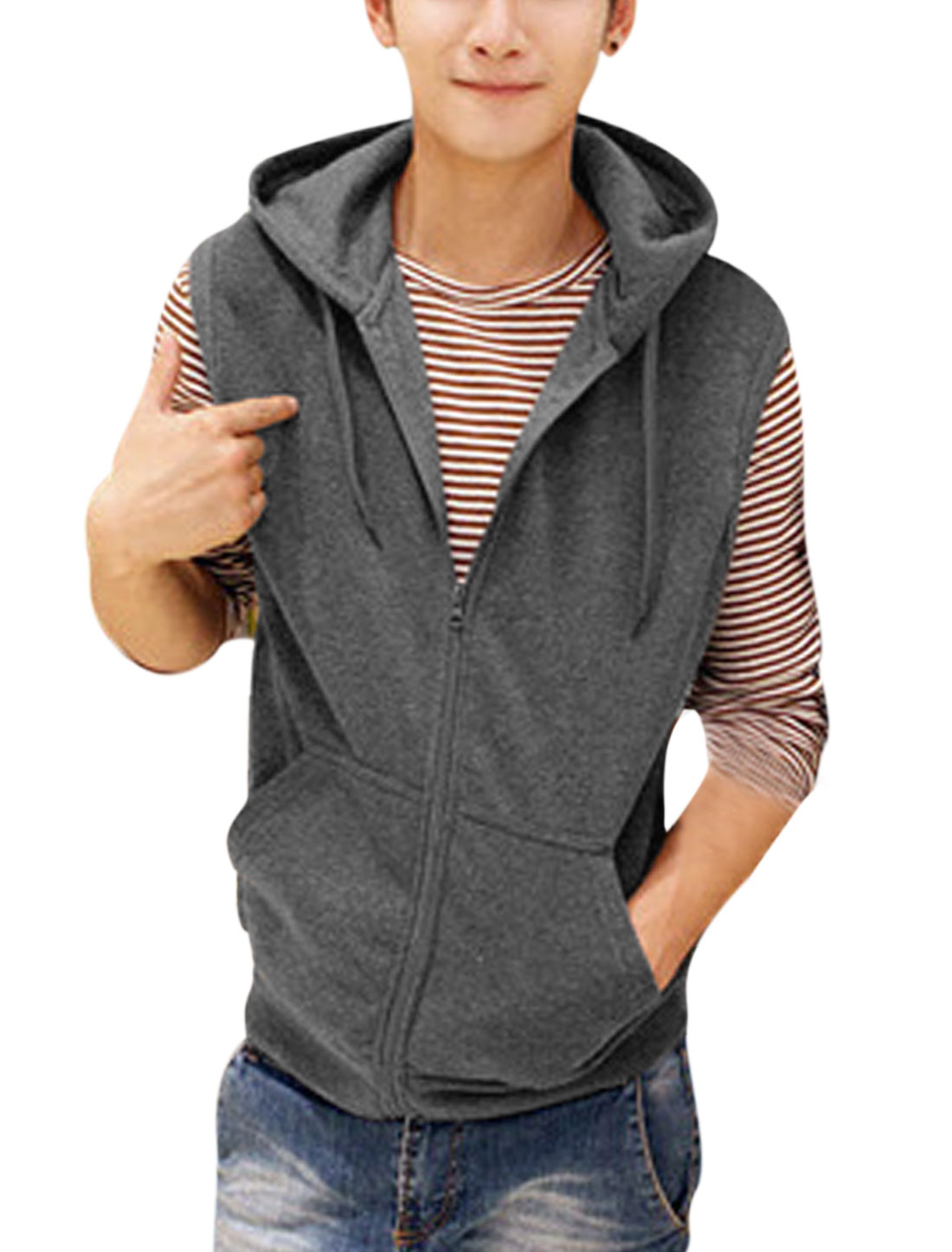 Men Drawstring Hood Zip Up Double Slant Pockets Casual Gilet Dark Gray M