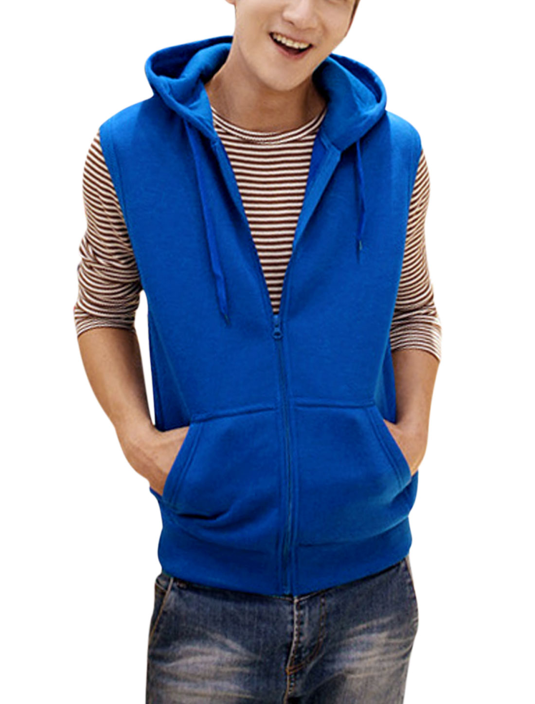 Men Drawcord Hood Zip Up Sleeveless Casual Gilet Royal Blue M
